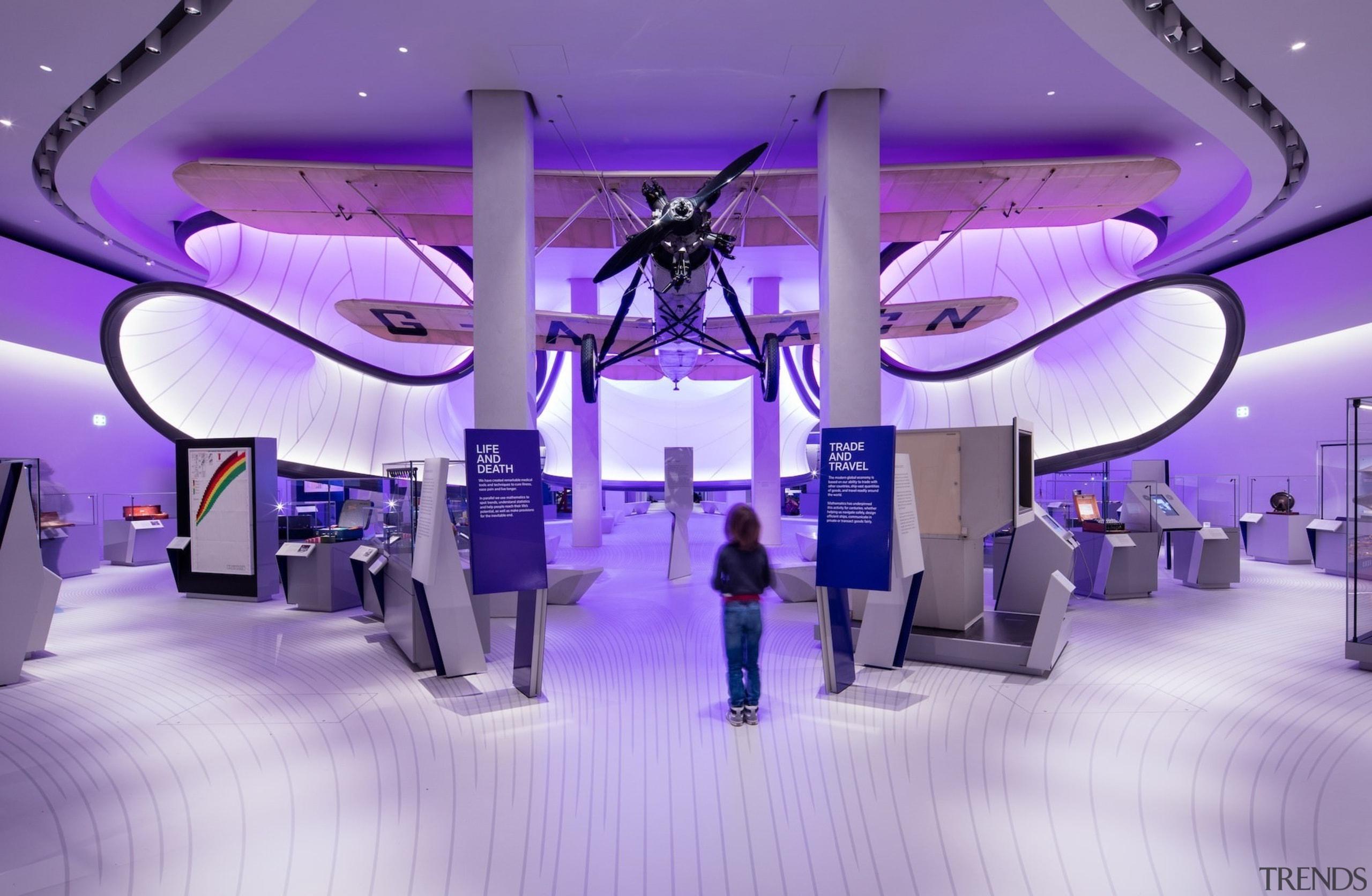 Zaha Hadid – Mathematics: The Winton Gallery – design, function hall, interior design, lighting, purple, structure, purple