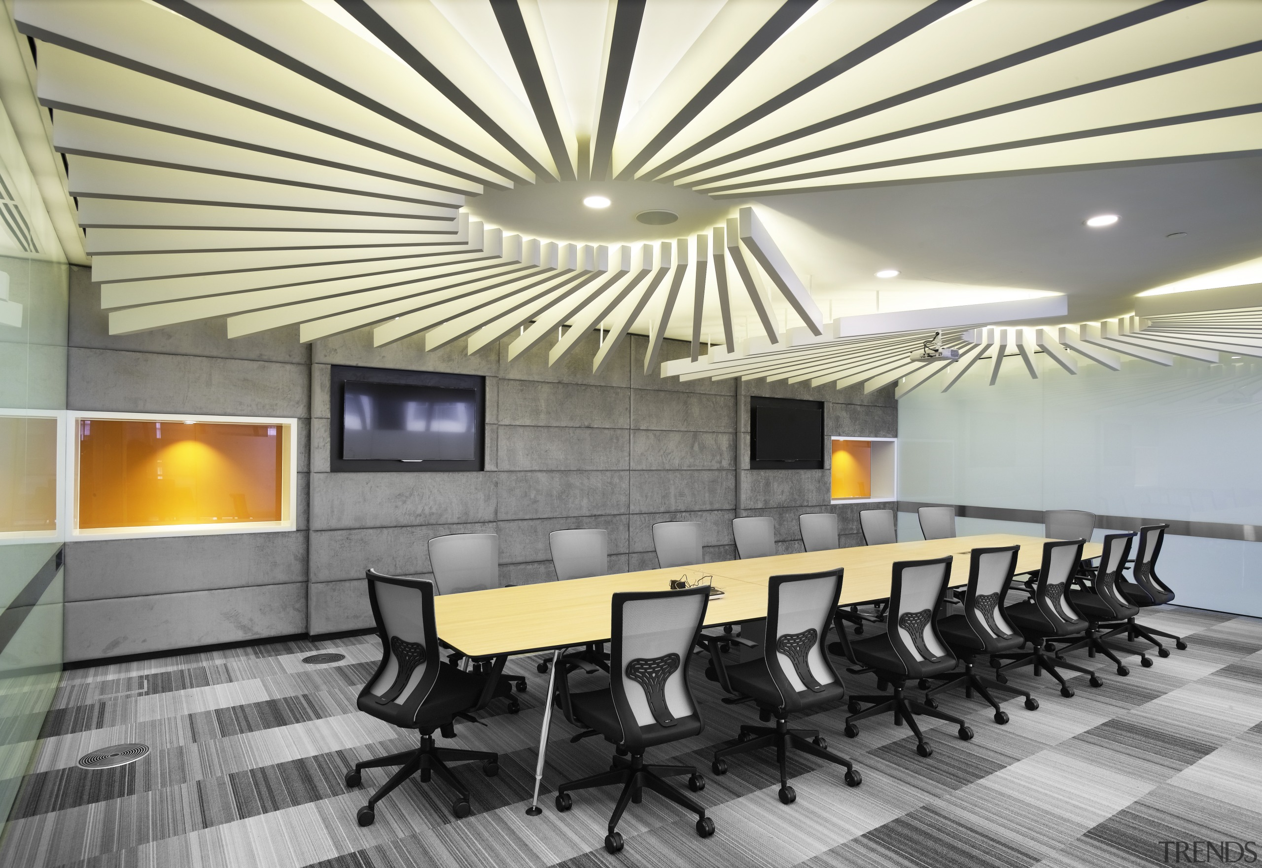 On this fit-out, the contemporary boardrooms swirling feature architecture, ceiling, conference hall, interior design, lobby, table, gray, yellow