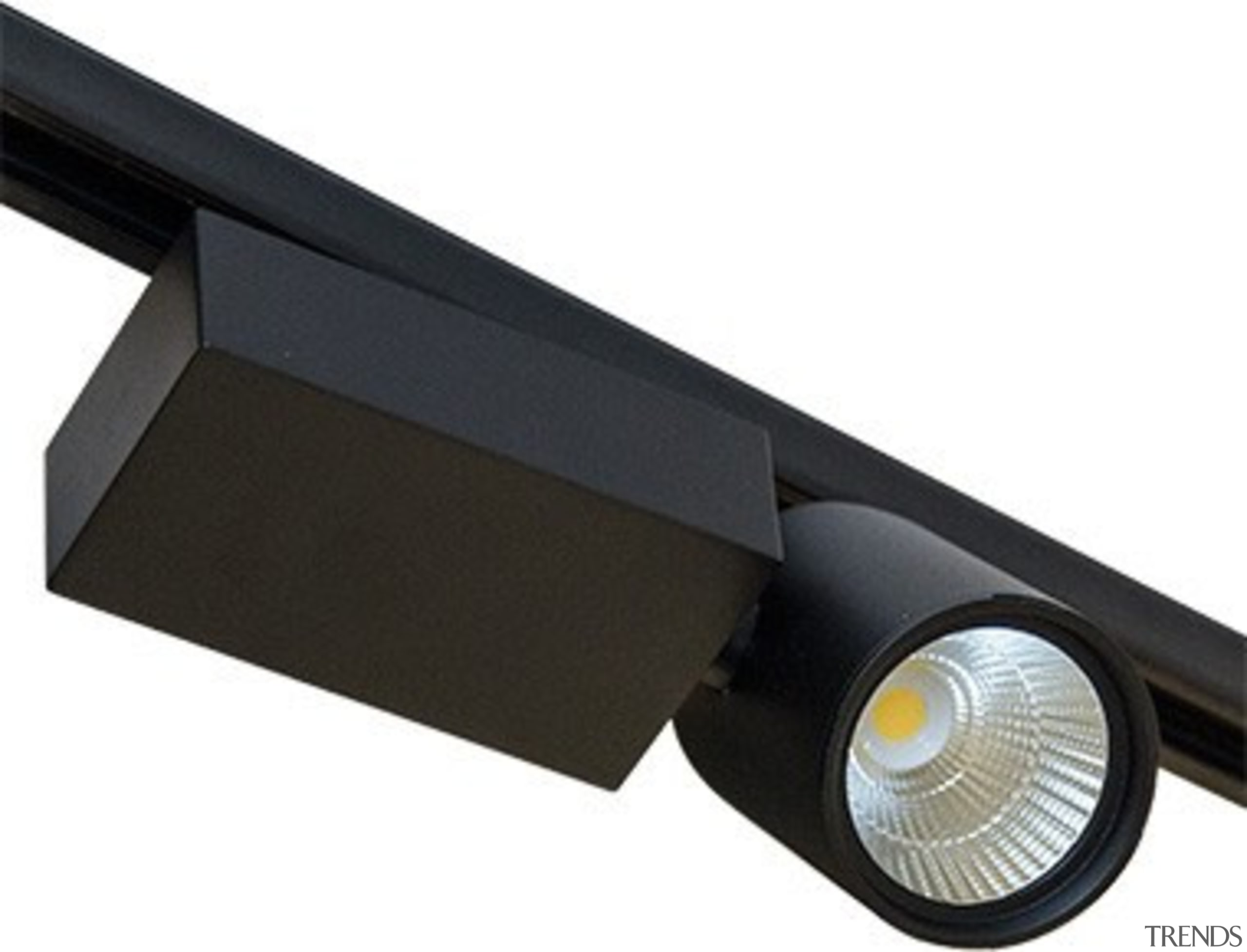FeaturesA robust track mounted aluminium design with a hardware, light, lighting, product design, white, black