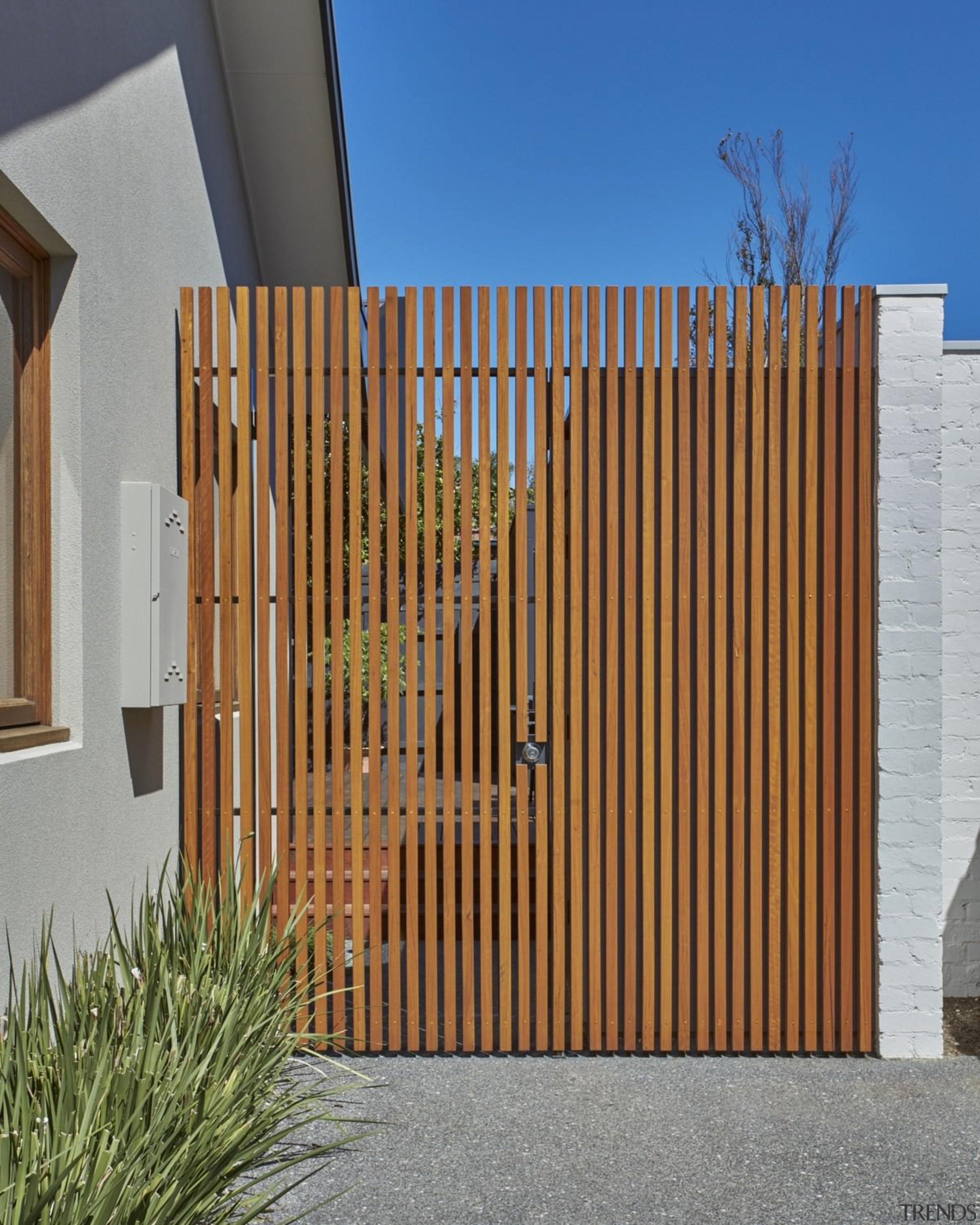 This slat fence is an interesting touch - architecture, facade, fence, gate, picket fence, siding, wood, wood stain, brown, gray
