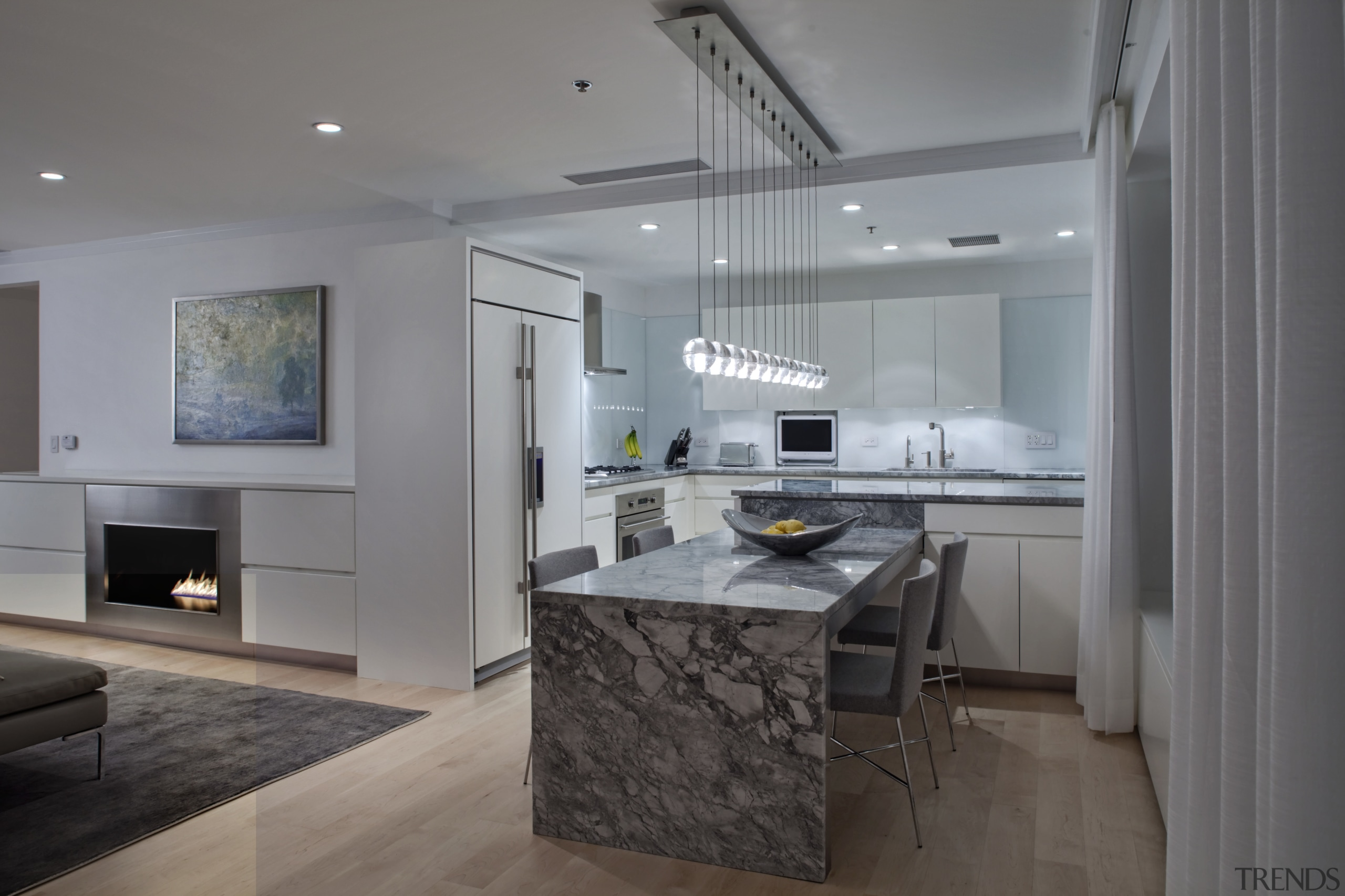View of kitchen designed by Massey Hoffman Architects countertop, floor, home appliance, interior design, kitchen, living room, real estate, gray