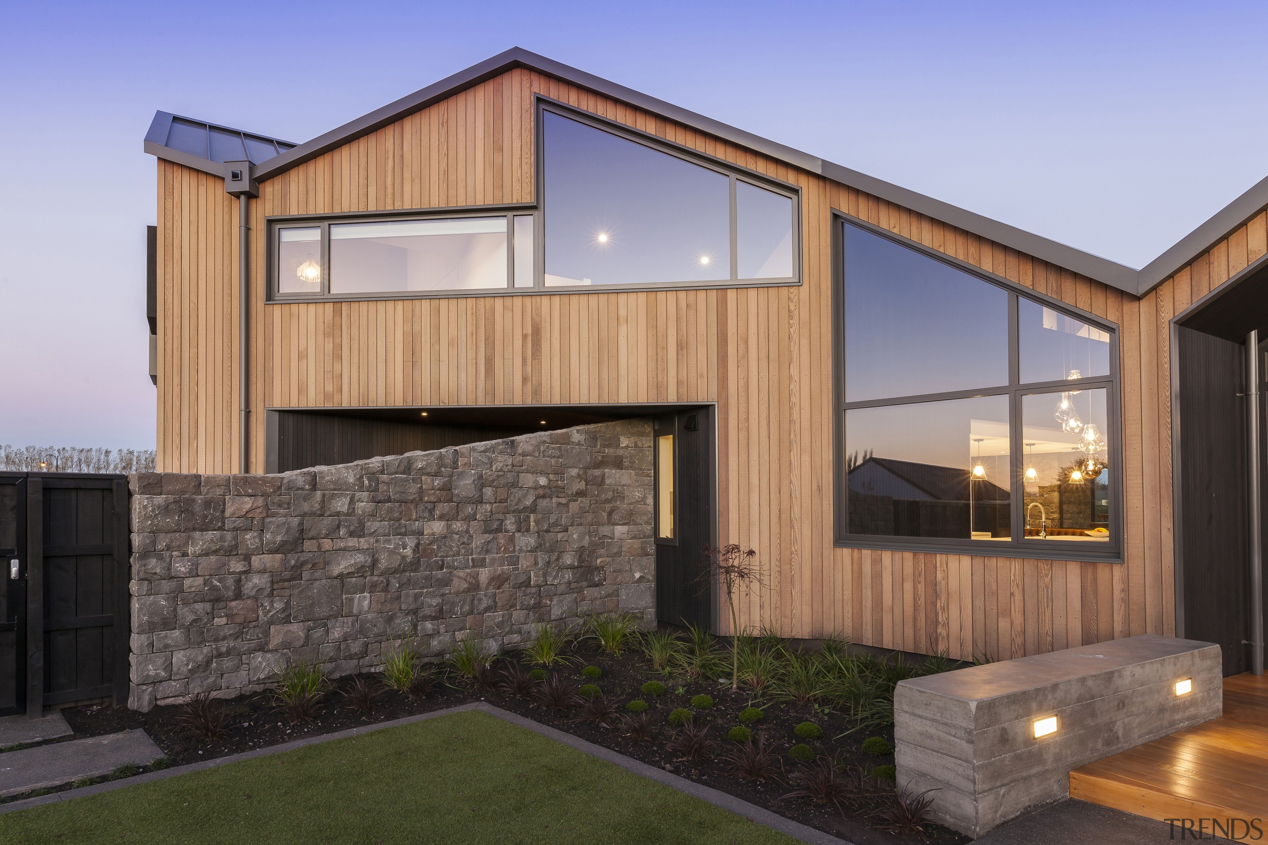 Stone and wood make pleasing companions on the
