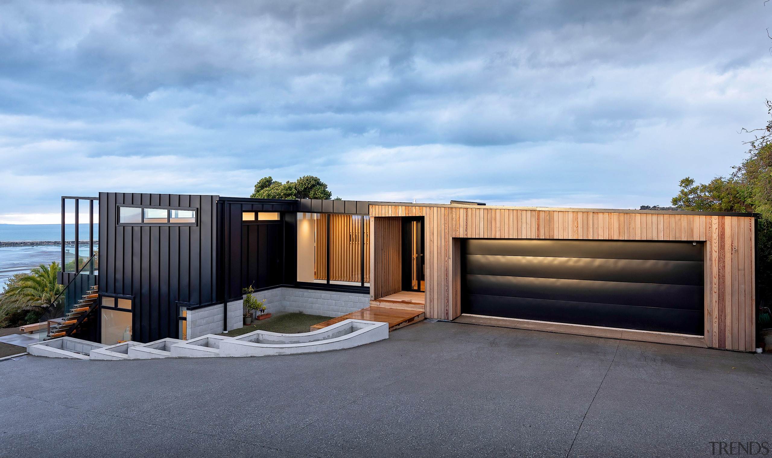 The sloping roof of this home follows the