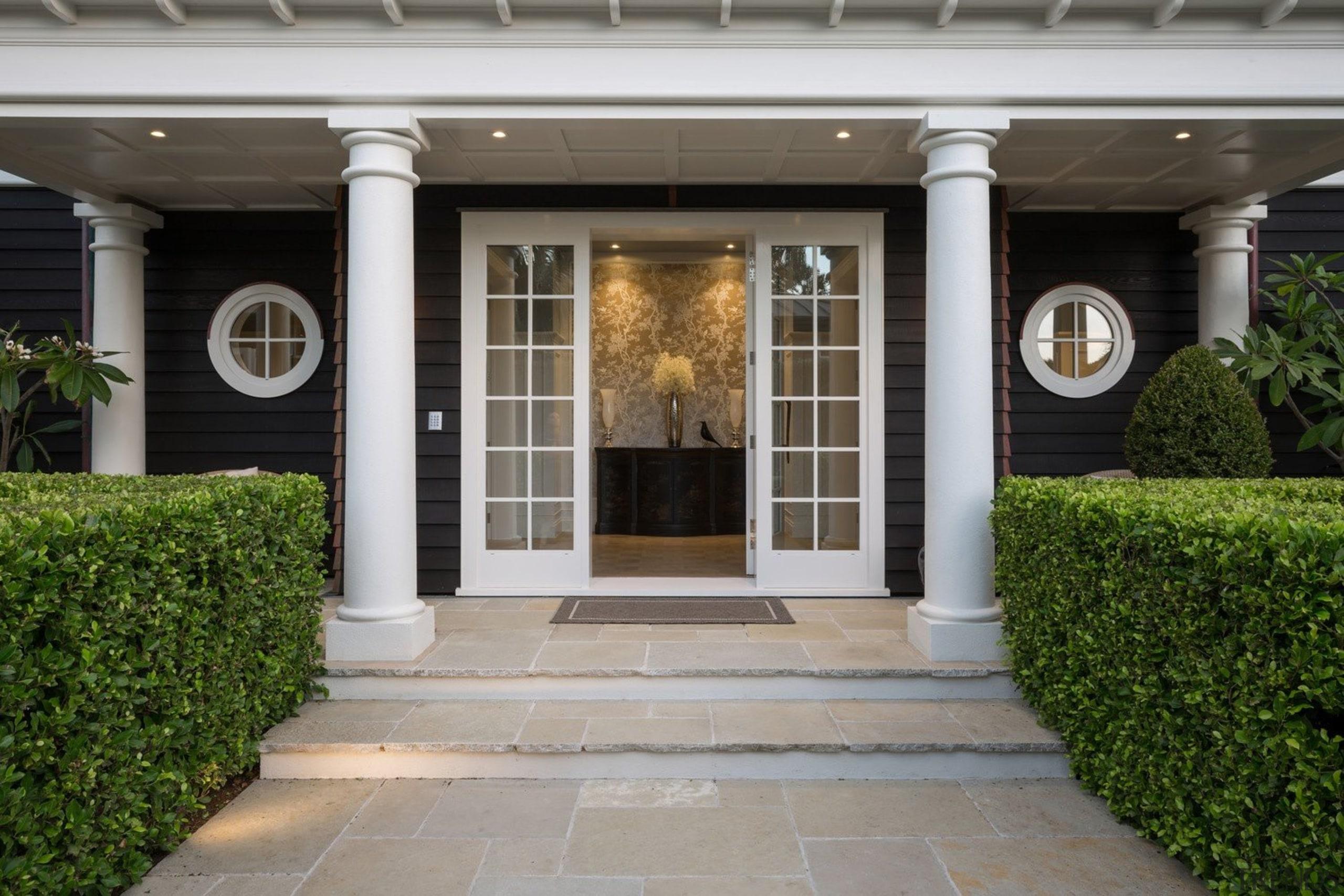 Entrance - courtyard | door | estate | courtyard, door, estate, facade, home, house, outdoor structure, porch, property, real estate, structure, walkway, window, gray