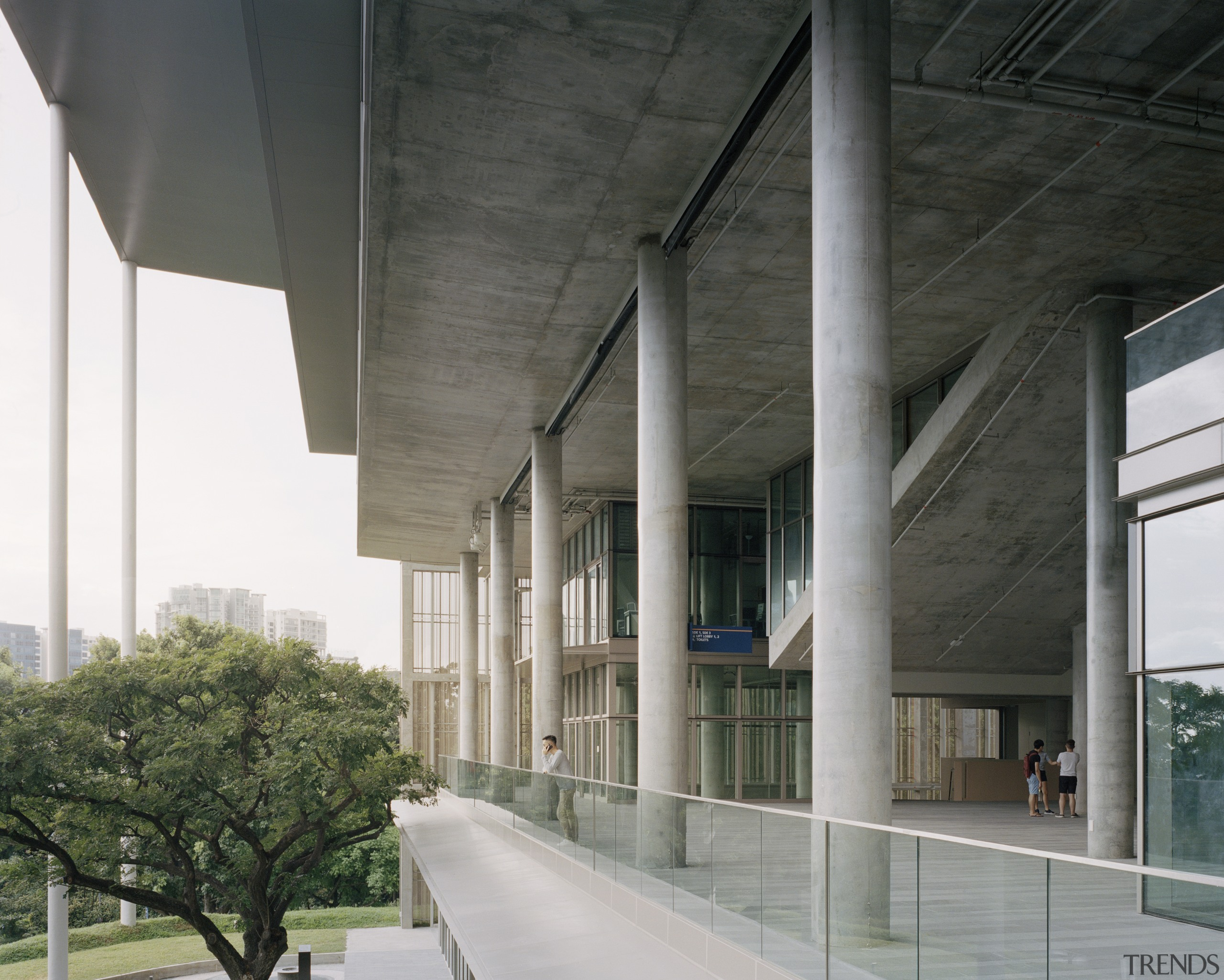 Modern university architecture studio includes elements of vernacular architecture, brutalist architecture, building, concrete, facade, glass, material property, reinforced concrete, School of Design Environment