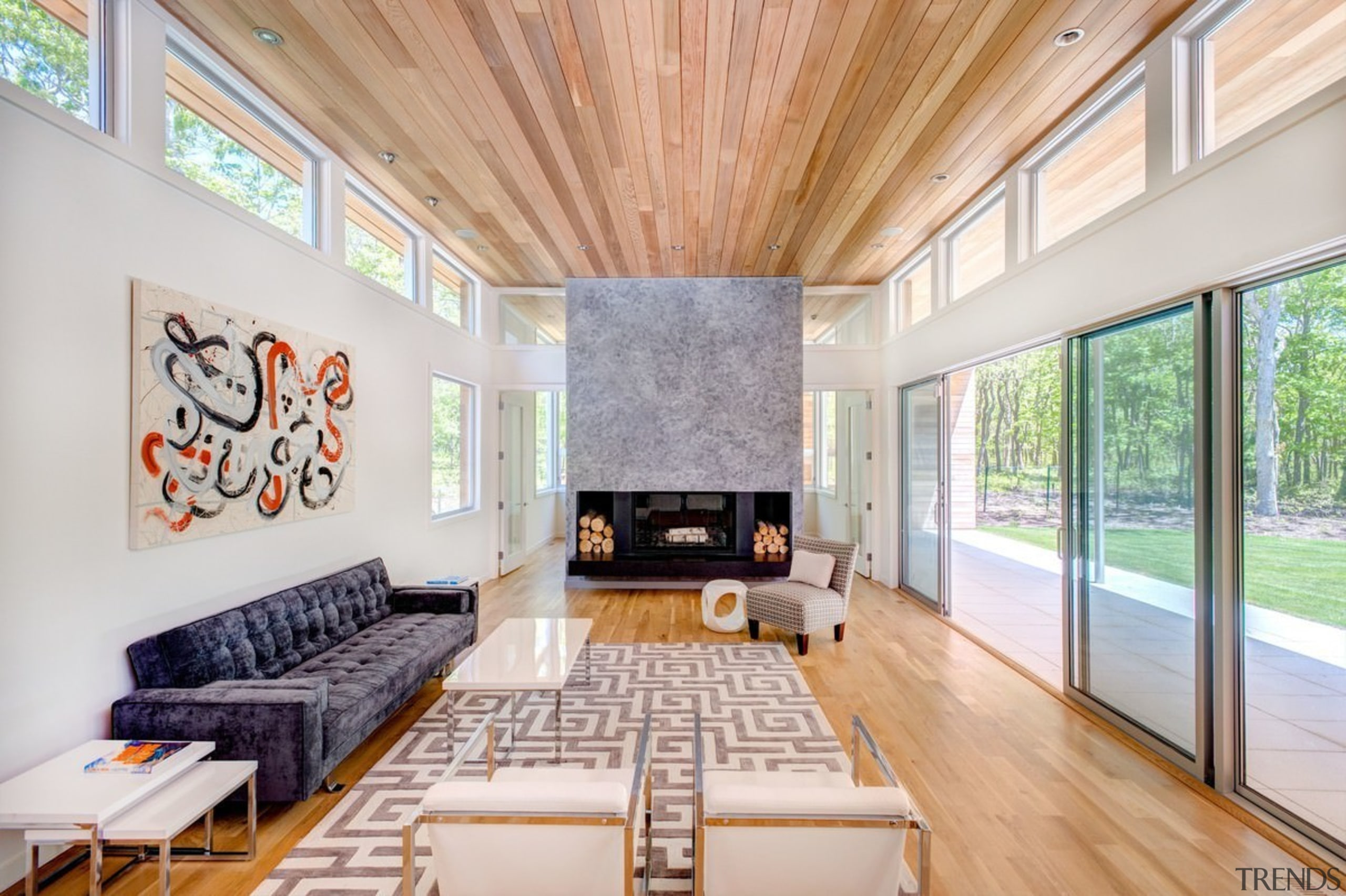Clerestory windows sit below the wood ceiling, flooding architecture, ceiling, estate, house, interior design, living room, real estate, room, window, gray