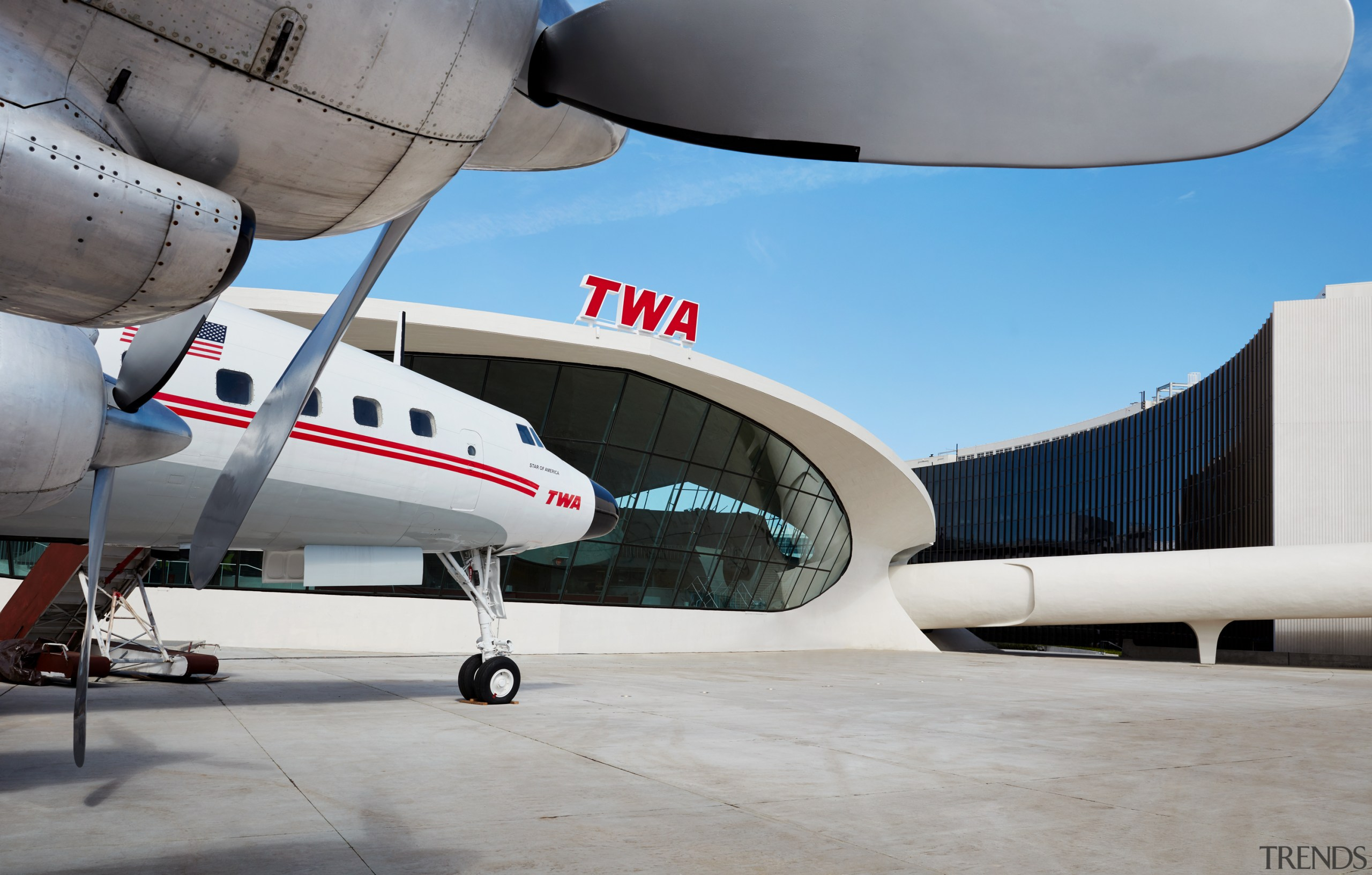 A refitted, and permanently grounded, Lockheed Constellation serves aerospace engineering, aircraft, airliner, airplane, Lockheed Constellation, retro cocktail bar, TWA Hotel
