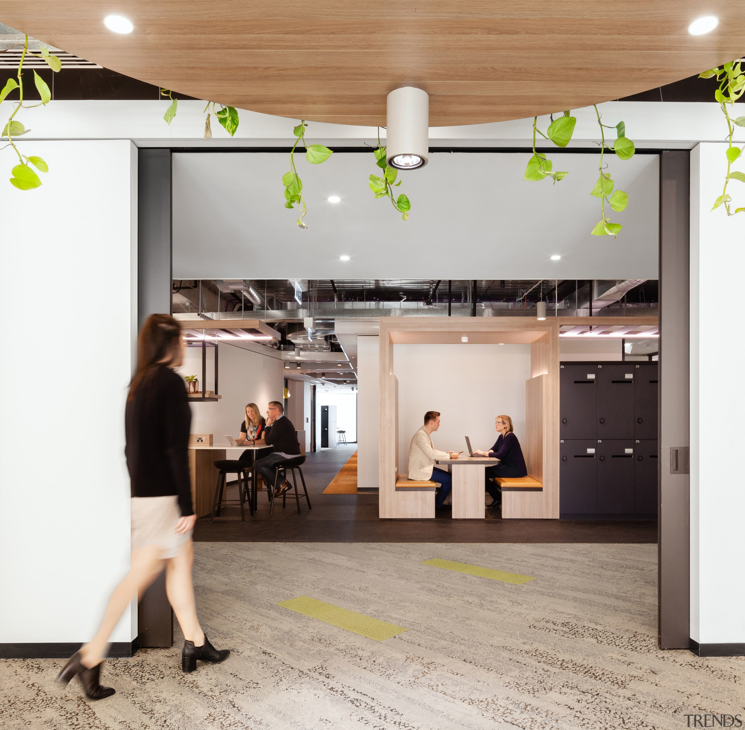 Jelly Bean workplace design means offices have many ceiling, flooring, furniture, interior design, lobby, product design, gray