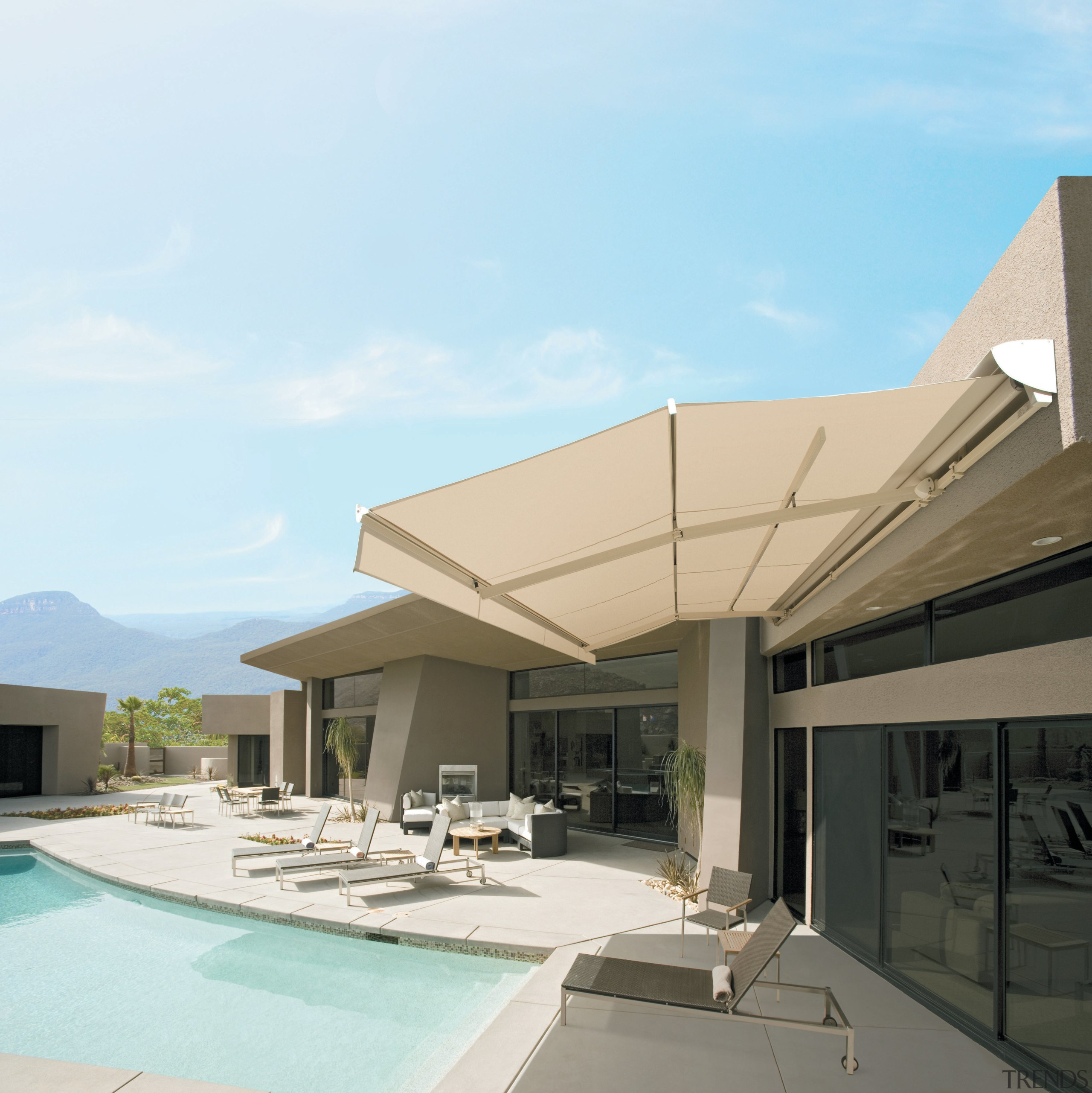 View of an outdoor area which features a architecture, condominium, elevation, estate, home, house, property, real estate, residential area, roof, shade, white