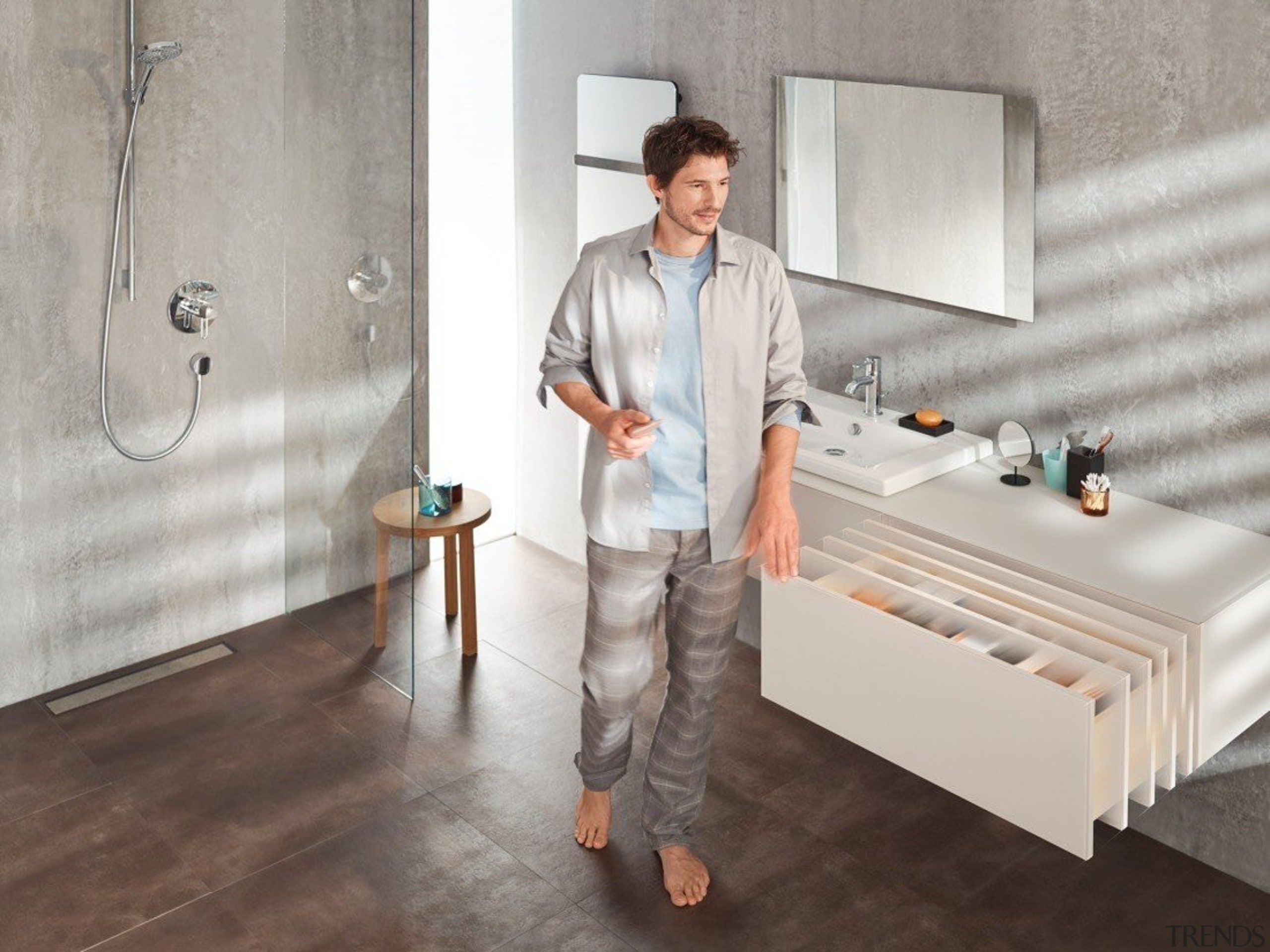 TIP-ON BLUMOTION for MOVENTO combines the advantages of bathroom, floor, flooring, furniture, interior design, plumbing fixture, room, table, tile, gray