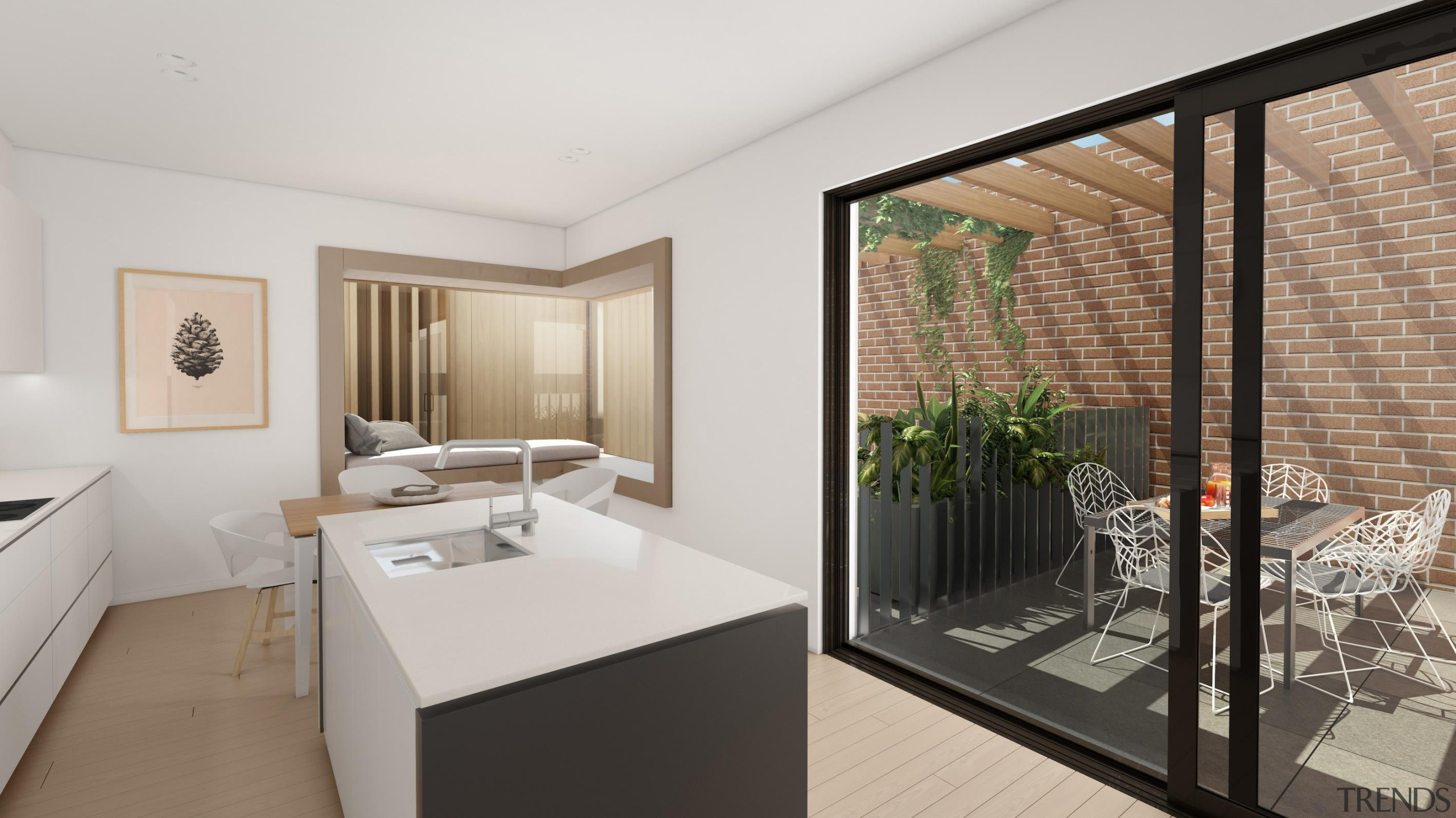 The first stage of Wynyard Central is an architecture, interior design, real estate, window, gray