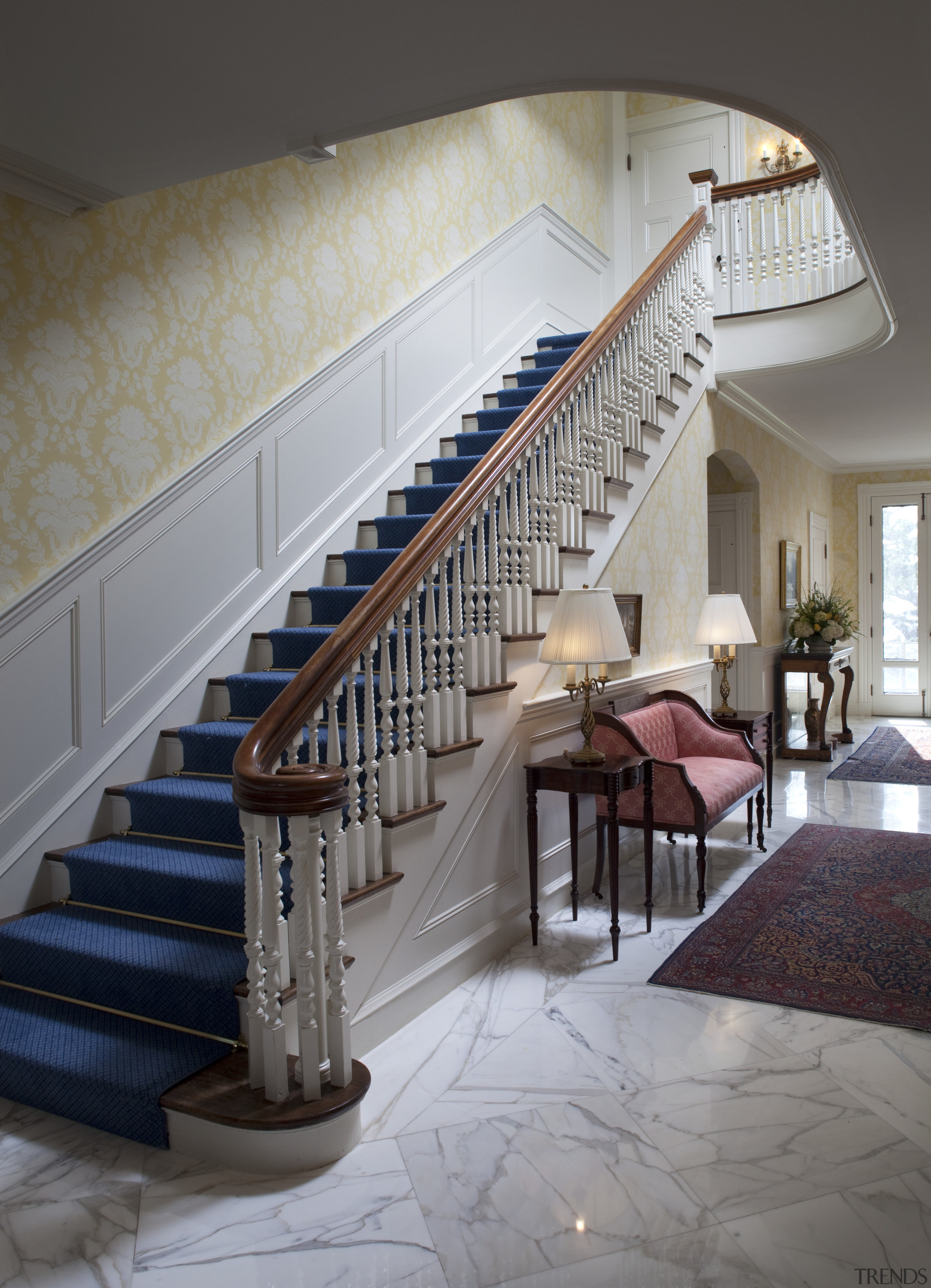 The original staircase and marble flooring of this architecture, baluster, ceiling, estate, floor, flooring, handrail, interior design, stairs, wall, gray