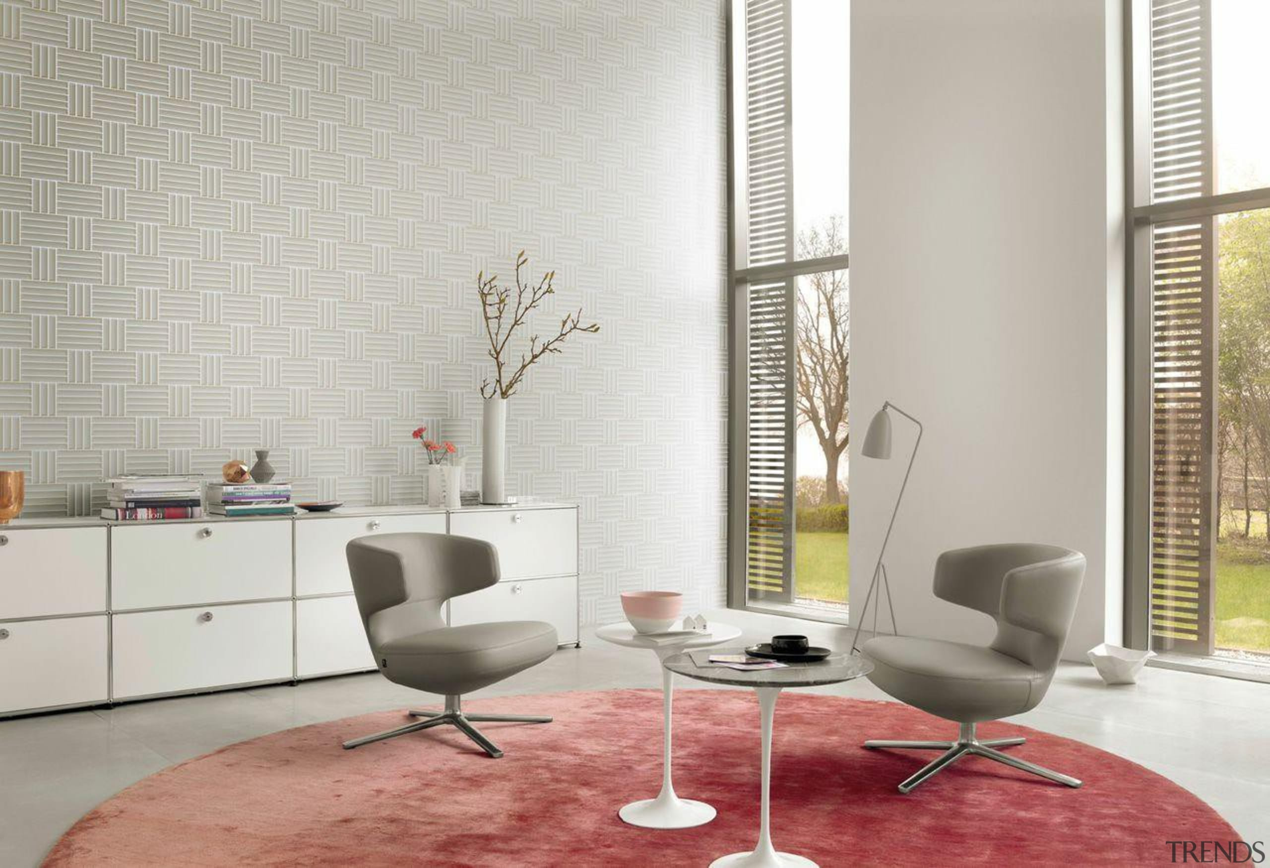 The Sky Lounge 2016 collection from the Rasch chair, floor, flooring, furniture, interior design, living room, table, wall, window, window covering, gray