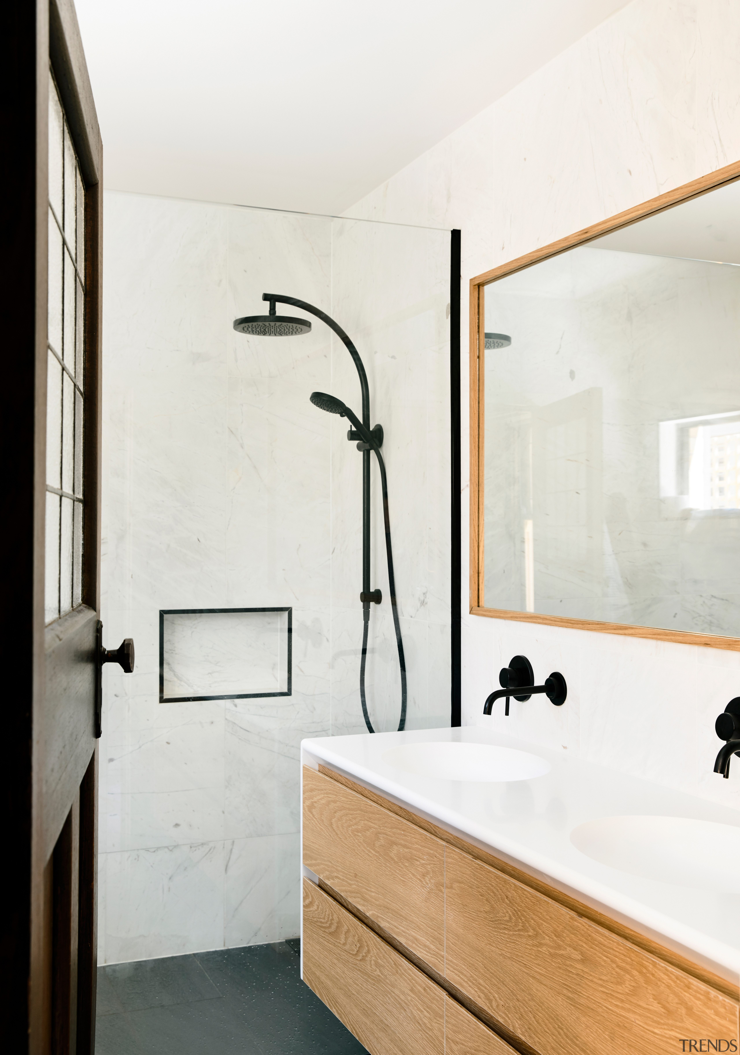 Existing bedrooms were given contemporary ensuite bathrooms, complete architecture, bathroom, home, interior design, plumbing fixture, tap, wall, white, ensuite, Porter Architecture, black hardware