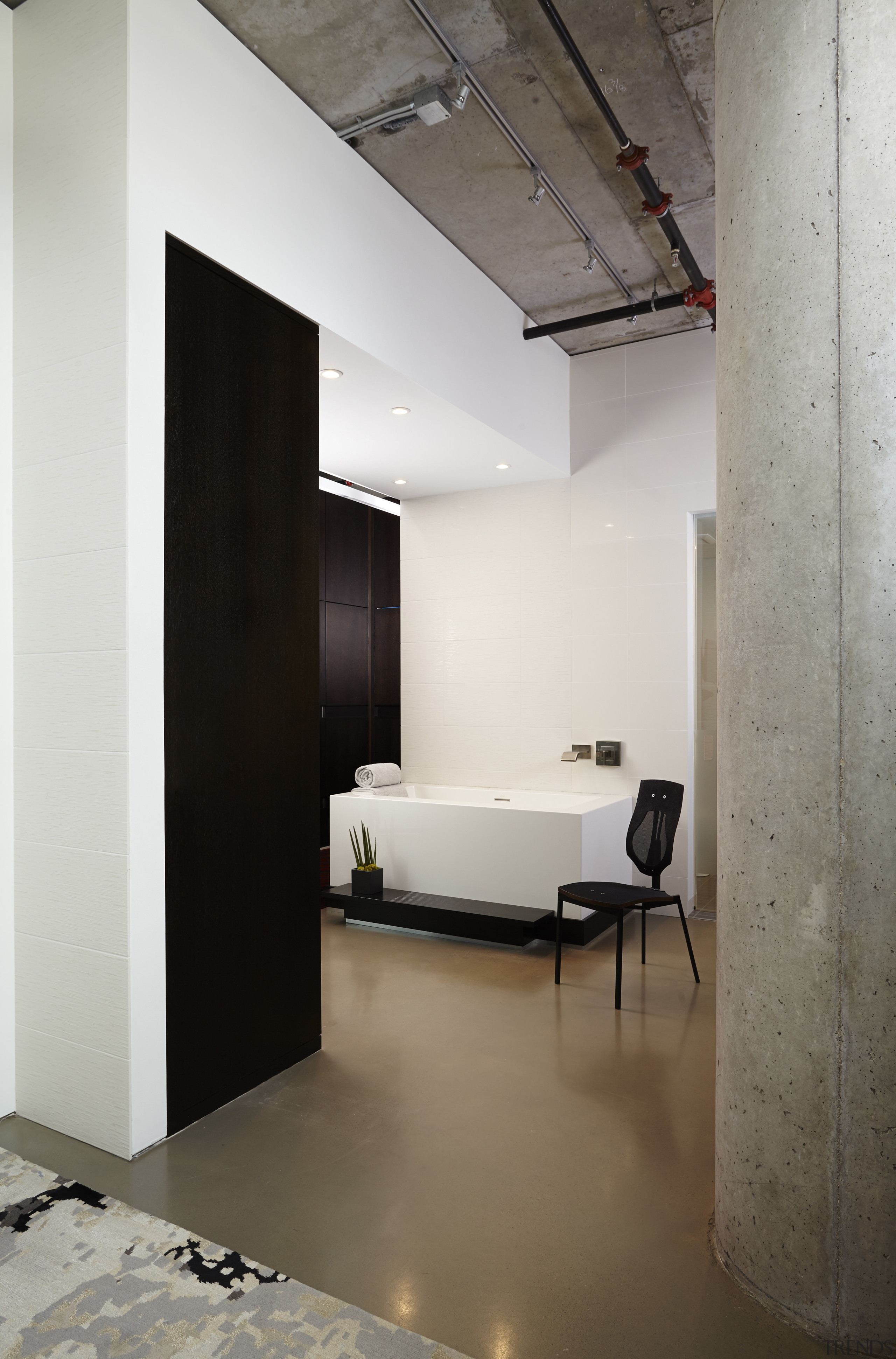 This bathroom refit by designer Jodi Gillespie complements architecture, ceiling, floor, flooring, interior design, loft, product design, gray