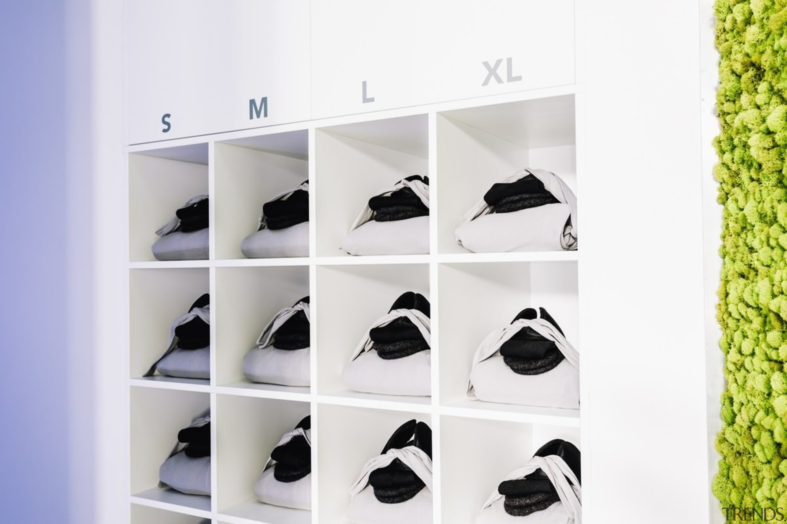 Cryotherapy clothing sits in appropriate alcoves - Cryotherapy footwear, furniture, product, product design, shelf, shelving, shoe, shoe store, white