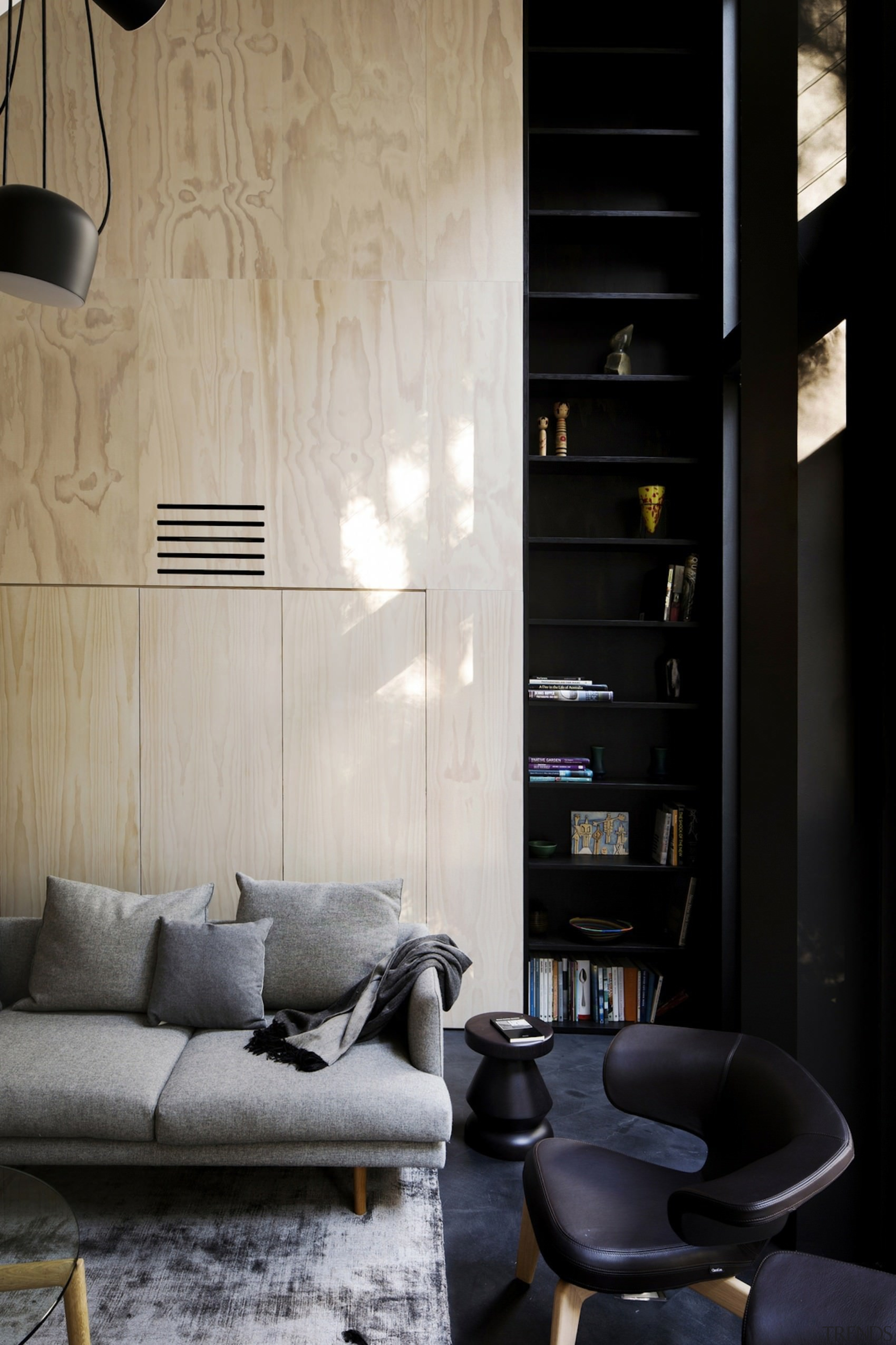 Architect: Architect PrineasPhotography by Chris Warnes architecture, floor, furniture, home, interior design, lamp, light fixture, lighting, living room, room, table, wall, window, wood, black, gray