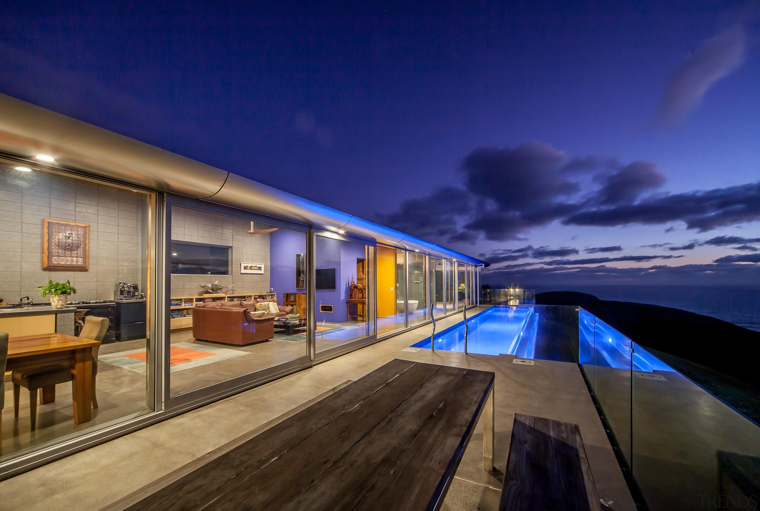 Capturing the spectacular views was a priority for apartment, architecture, cloud, estate, home, house, real estate, reflection, sky, blue