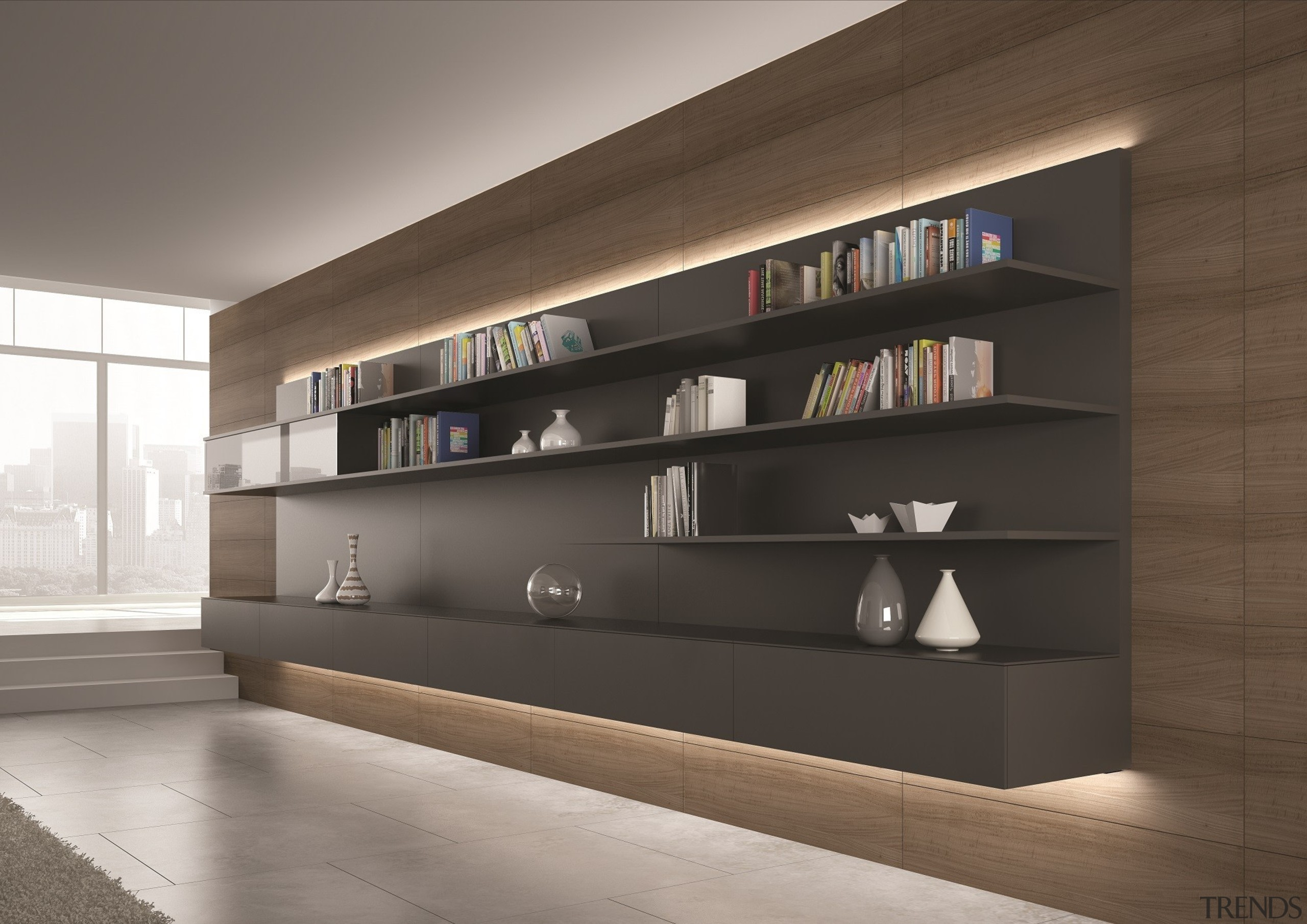 The connection system of this model ensures consistency architecture, bookcase, display case, furniture, interior design, lobby, shelf, shelving, gray, brown