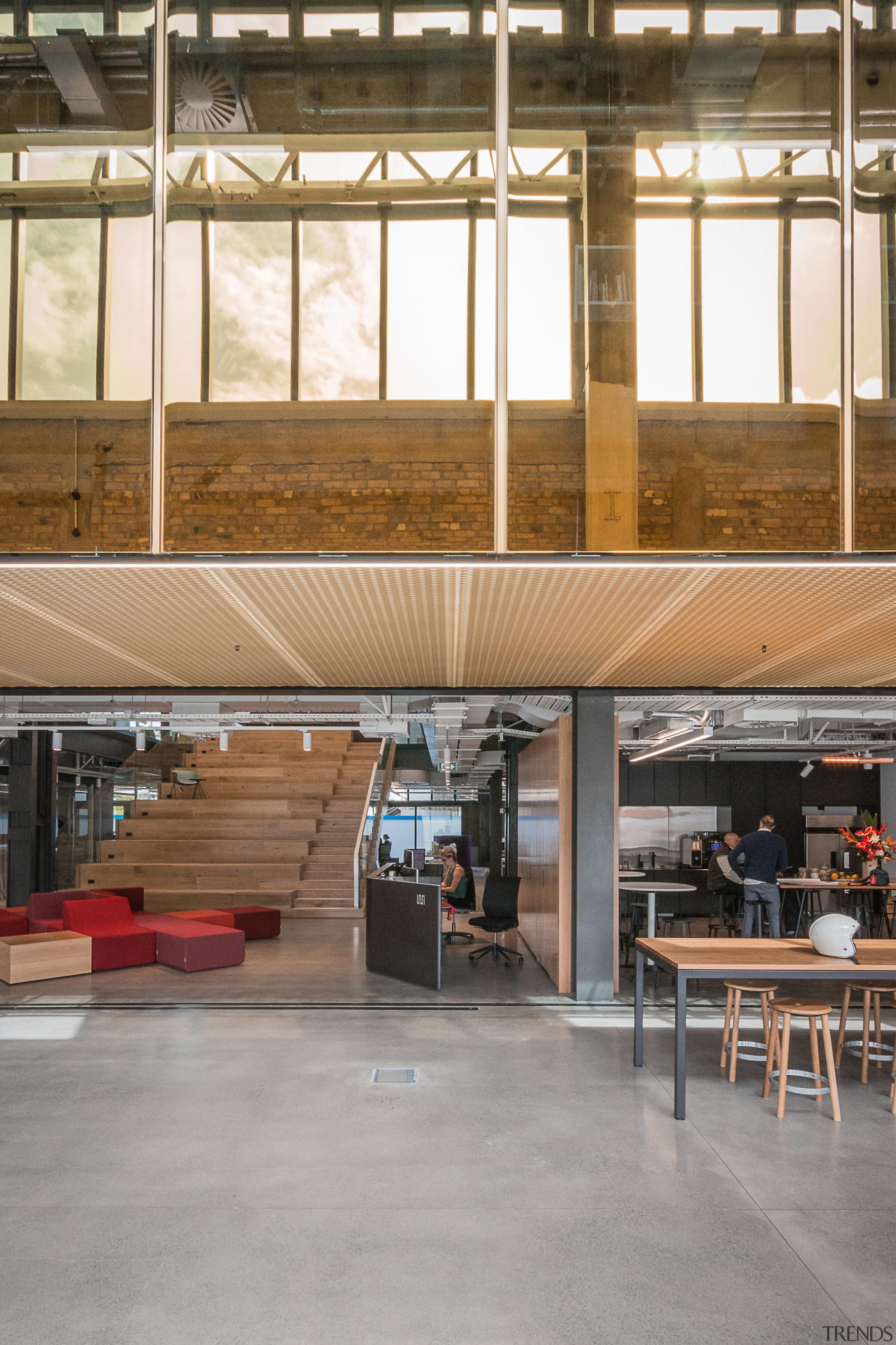 Social agenda  the Warren and Mahoney cafe floor, wood, brown
