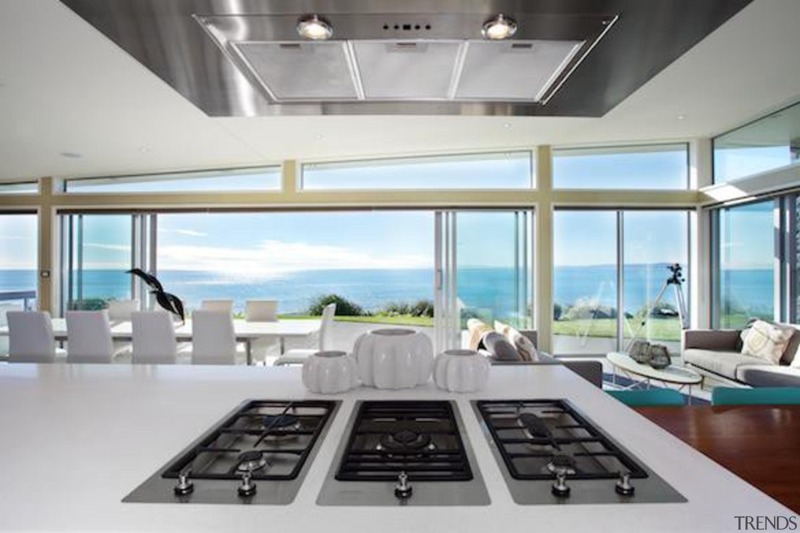 This beautiful kitchen is so full of light! daylighting, interior design, gray, white
