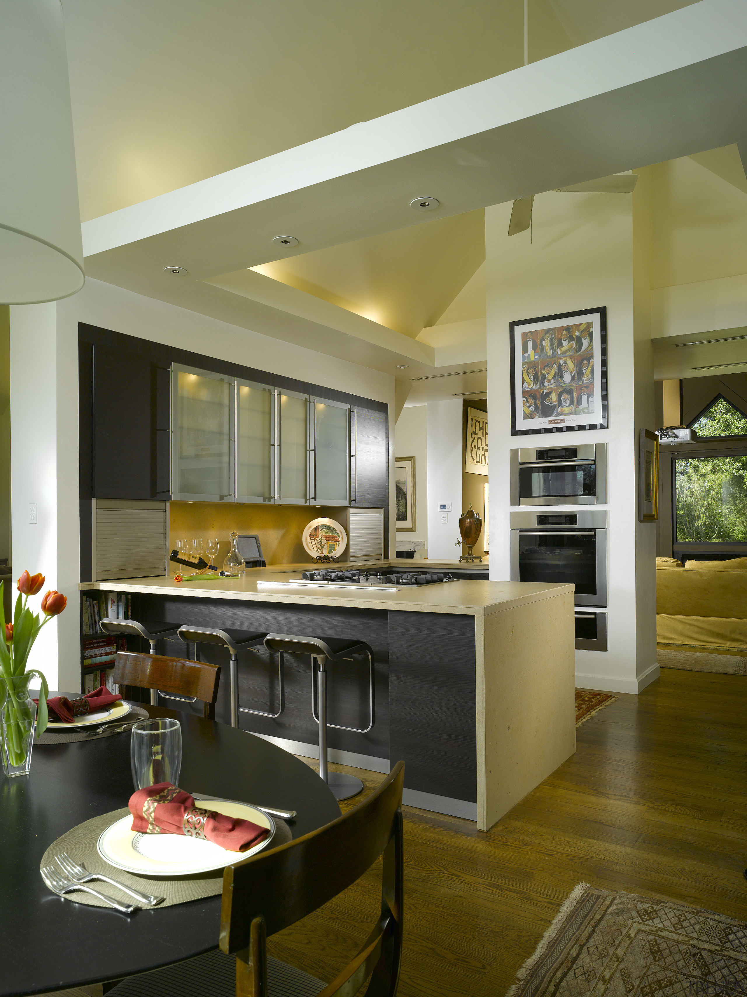 View of remodelled kitchen by SieMatic Atlanta. - ceiling, countertop, interior design, kitchen, living room, real estate, room, brown