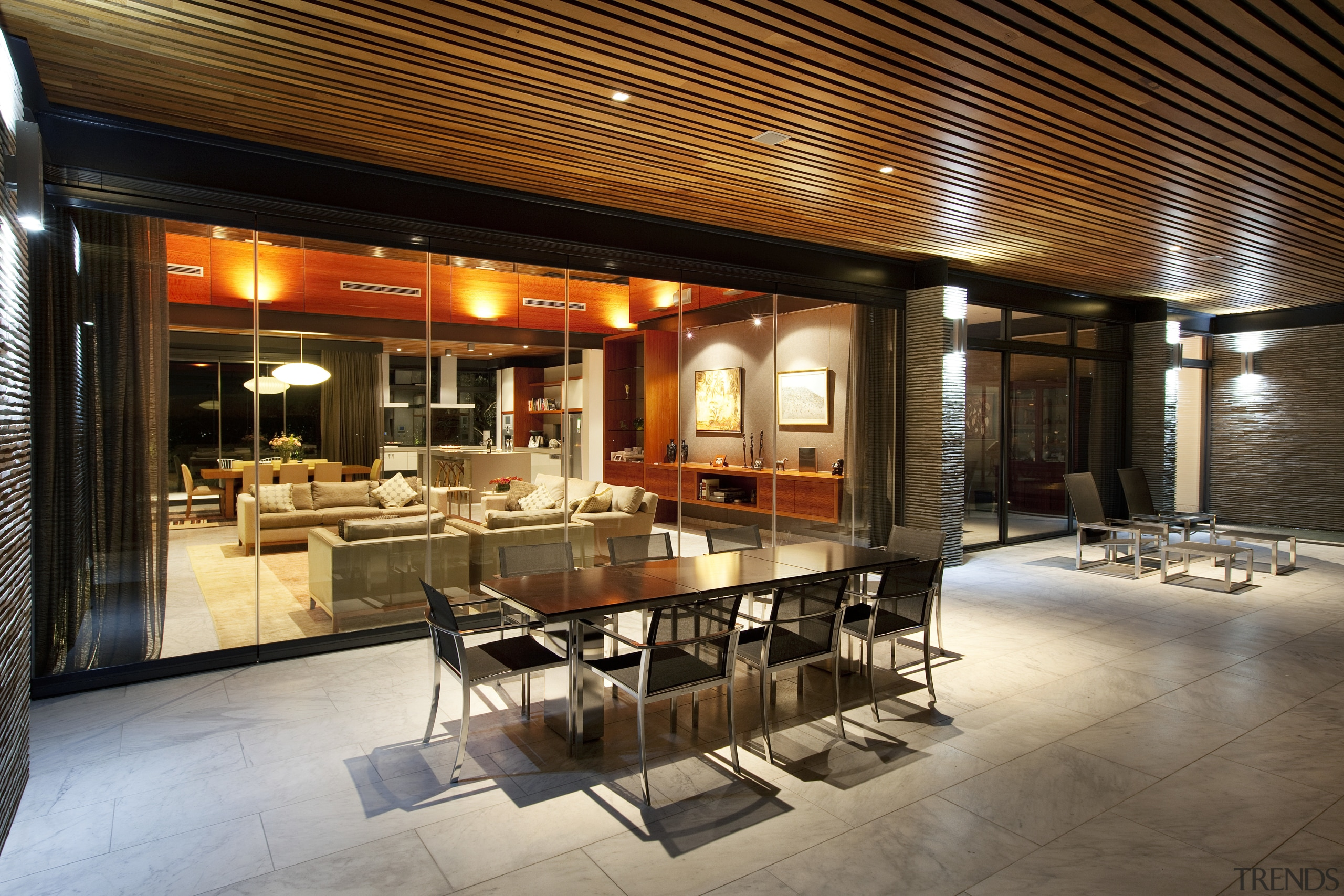 To enhance the seamless connection between inside and ceiling, interior design, lobby, restaurant, brown