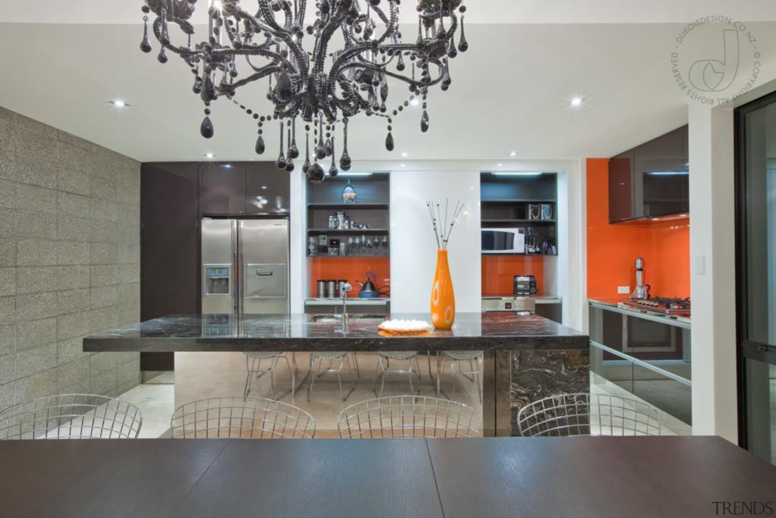 Sliding doors hide a sleek steel benchtop with countertop, interior design, interior designer, kitchen, living room, property, real estate, gray