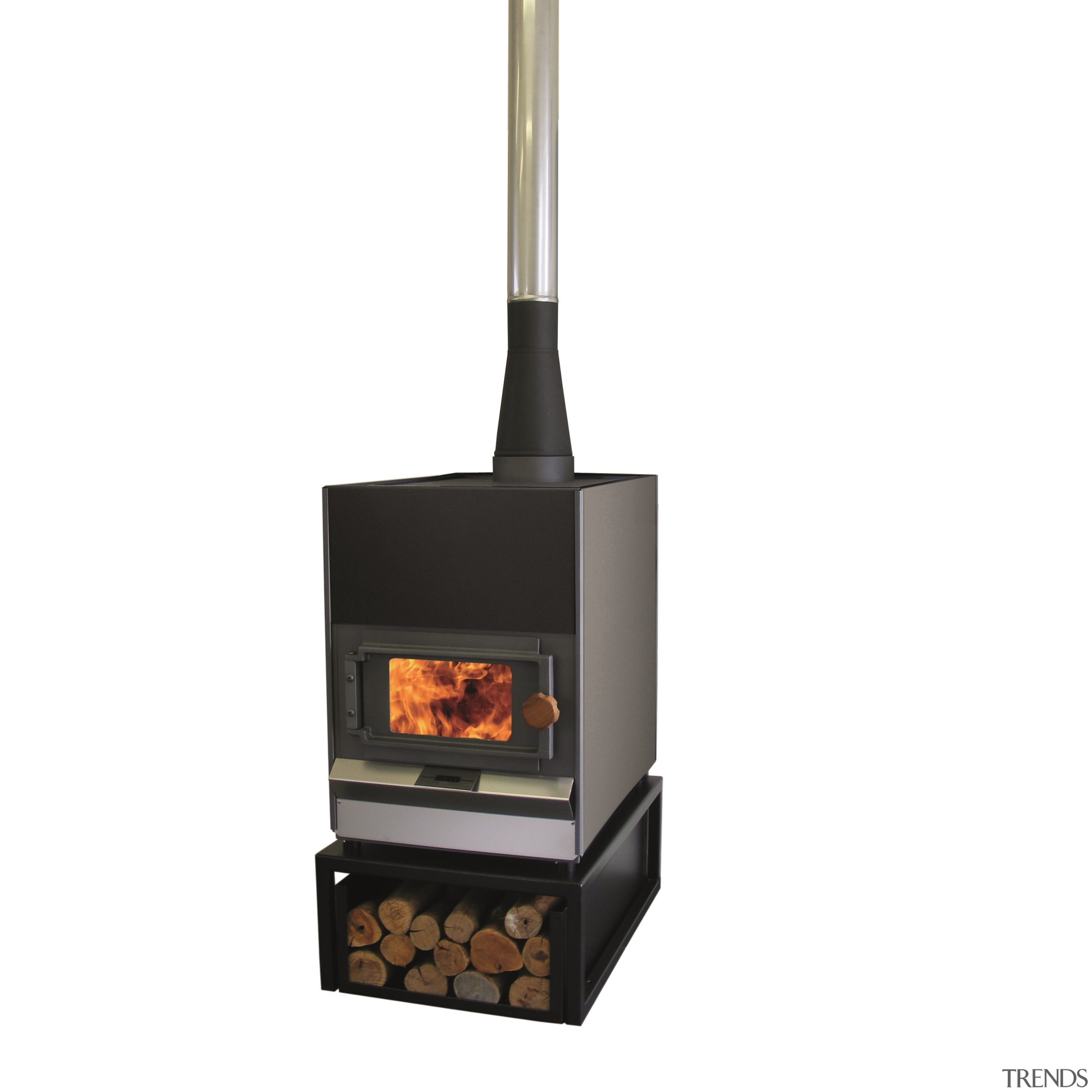 Pyroclassic IV on a mini woodbin with Matte hearth, home appliance, product, wood burning stove, white