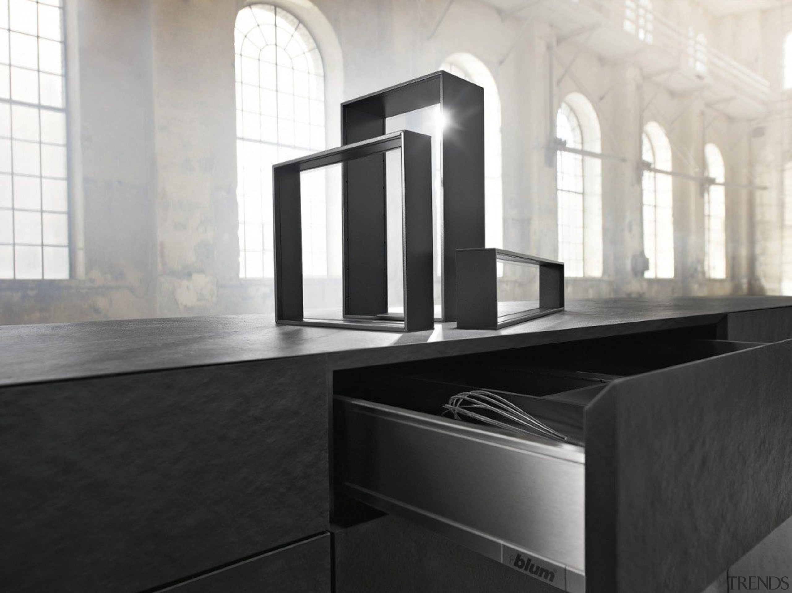 AMBIA-LINE inner dividing system – organization at its countertop, floor, flooring, furniture, interior design, product design, sink, tap, tile, black, white