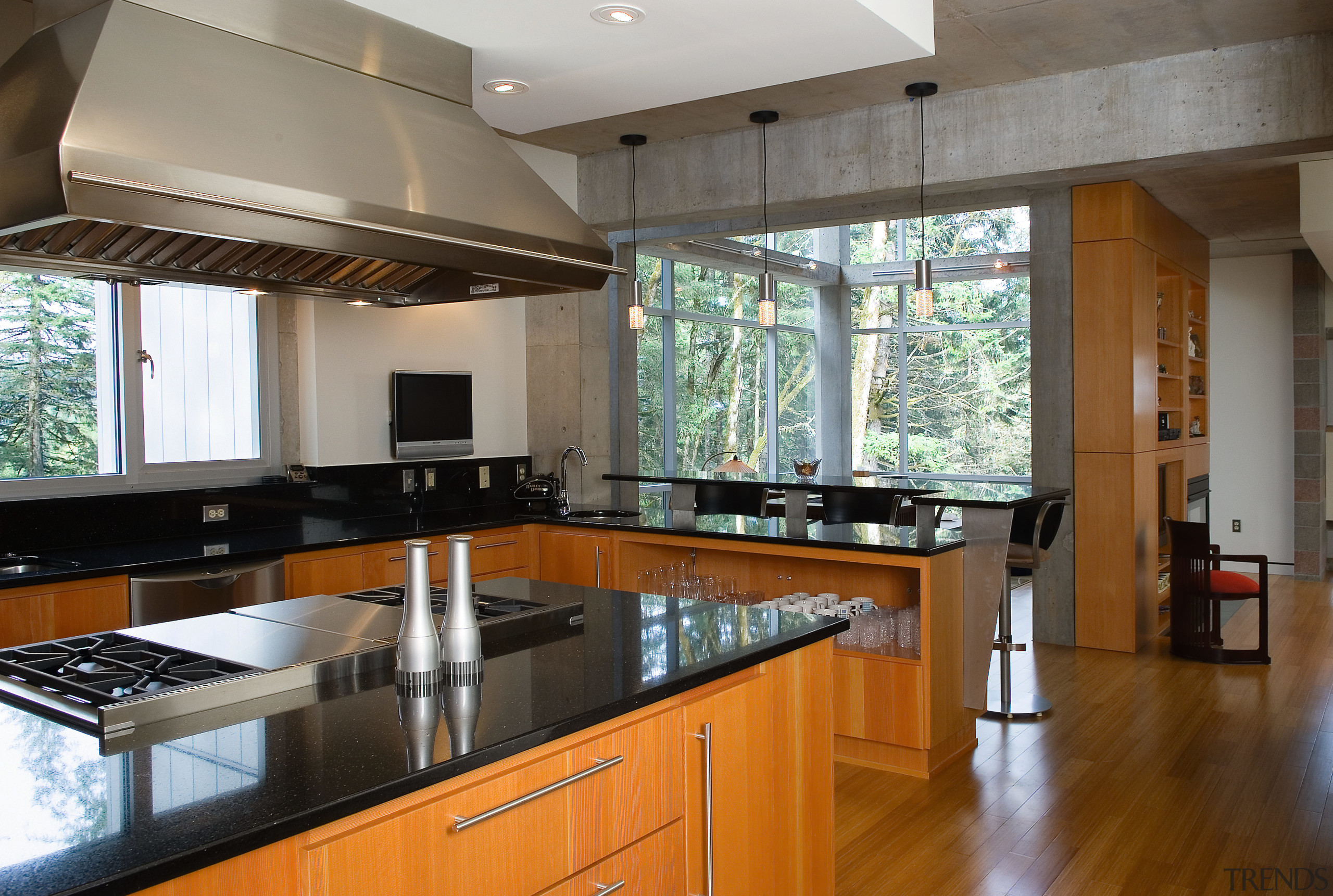 A view of the kitchen featuring bamboo flooring, countertop, interior design, kitchen, property, real estate, gray