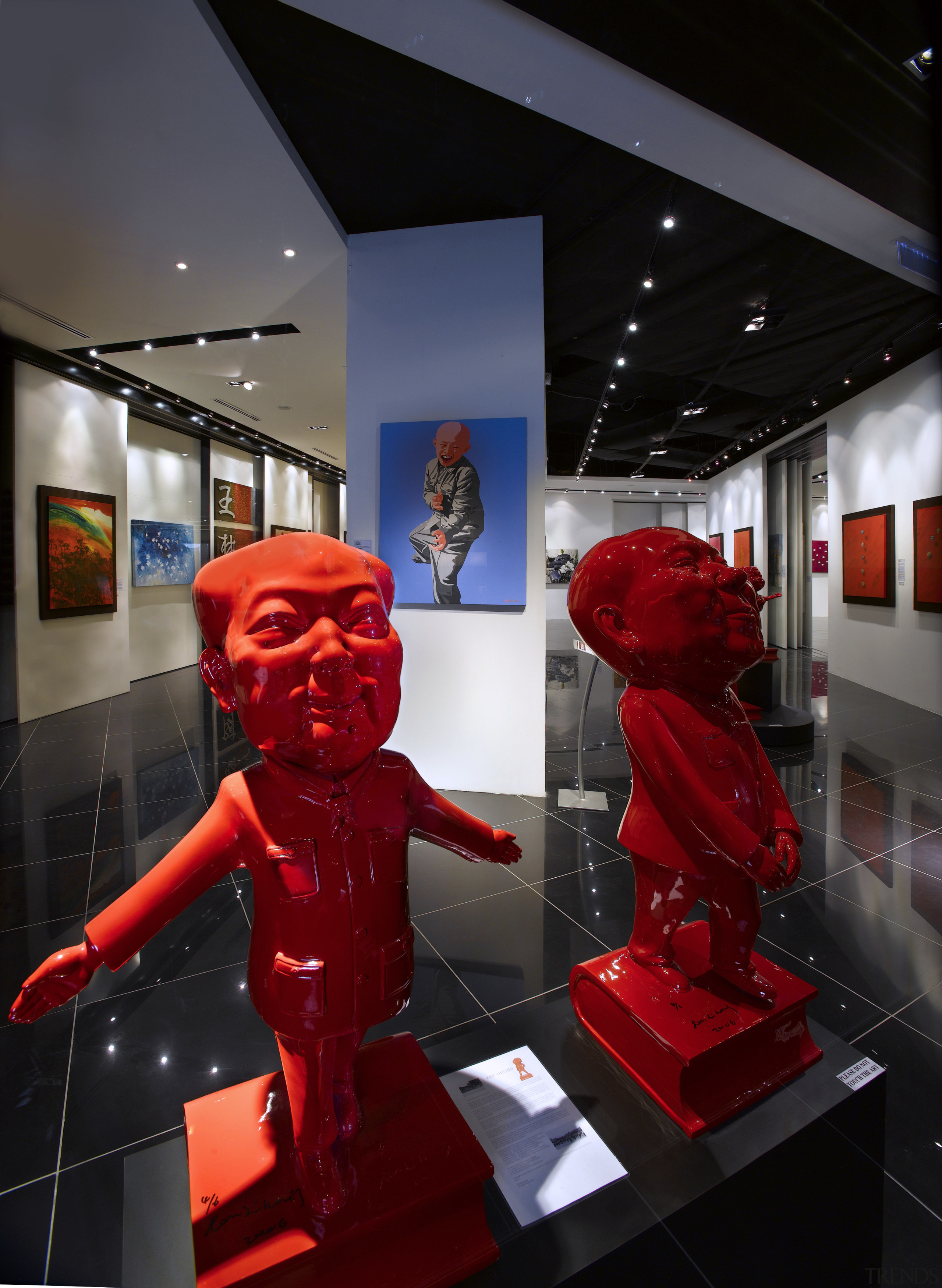 Interior view of the Art Gallery by Designworx, display window, exhibition, interior design, technology, black, red