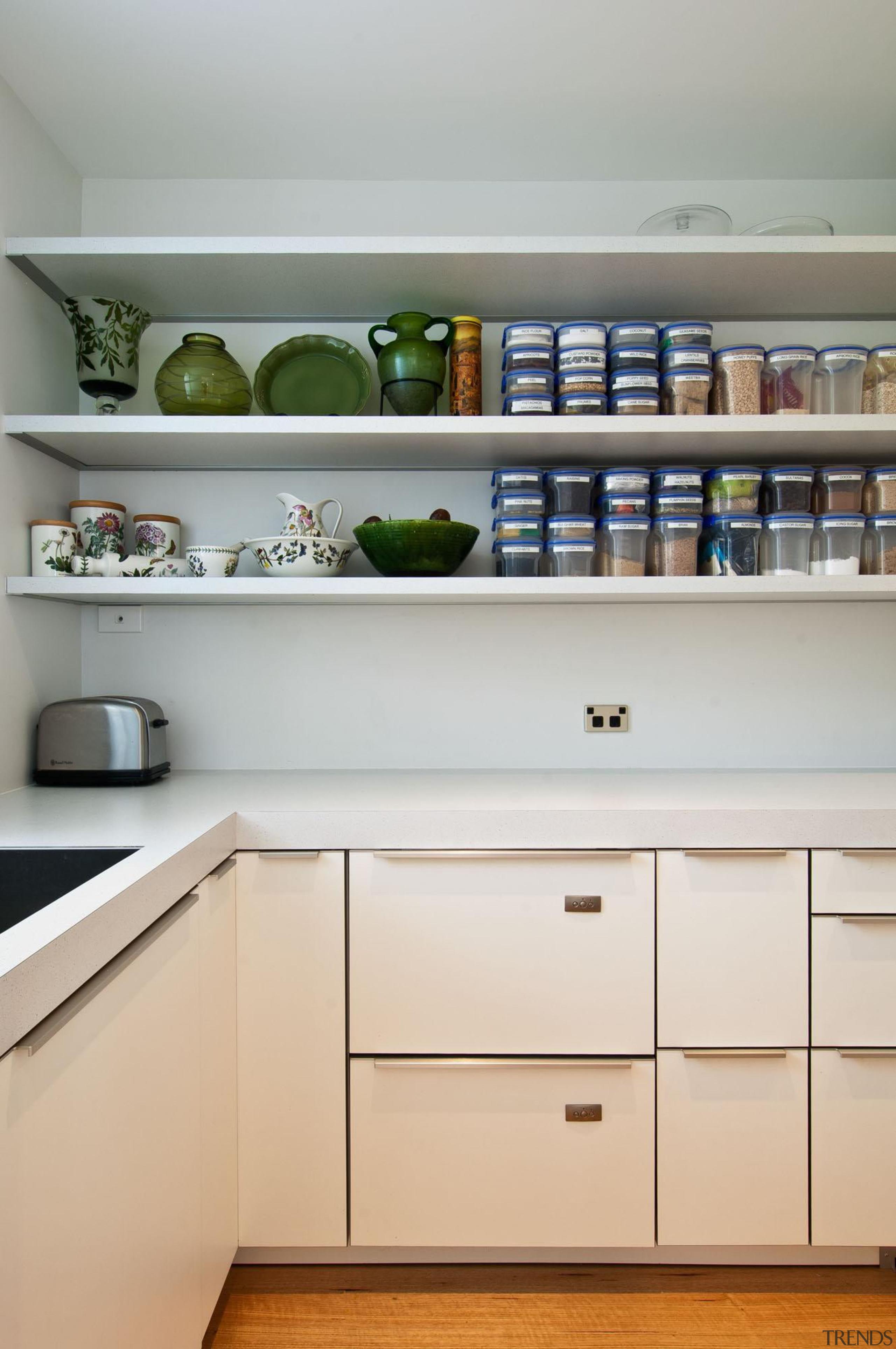 Khandallah Kitchen - Khandallah Kitchen - cabinetry   cabinetry, countertop, furniture, interior design, kitchen, room, shelf, shelving, gray