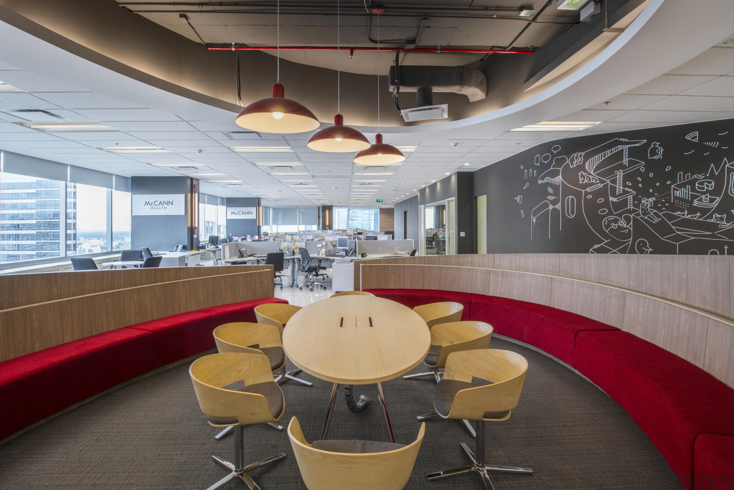 :This central pod is one of two collaboration architecture, auditorium, ceiling, conference hall, interior design, office, gray