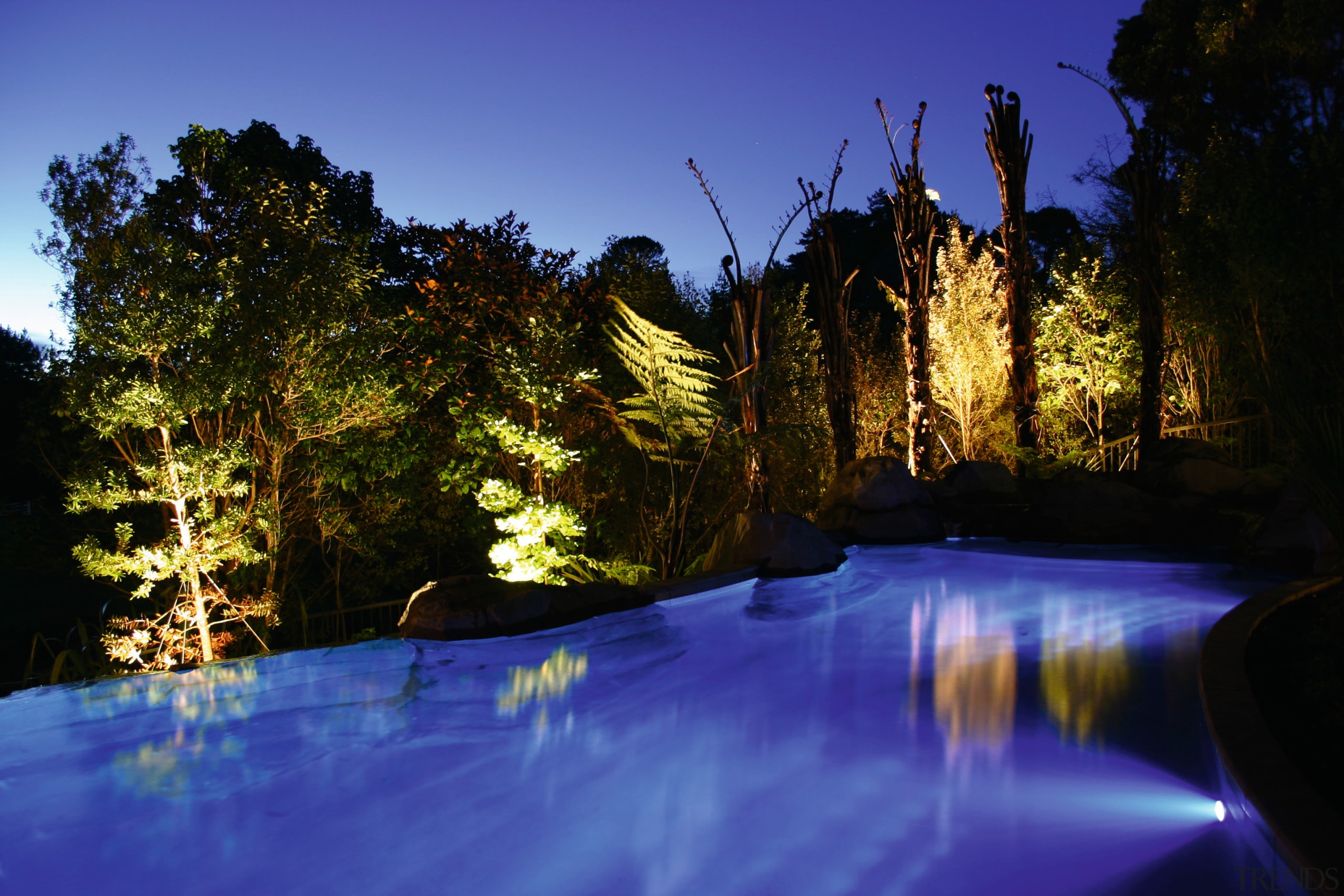 Outdoor pool with blue lighting and trees lit body of water, evening, lake, landscape, landscape lighting, light, lighting, nature, night, reflection, river, sky, tree, water, water feature, watercourse, wilderness, blue