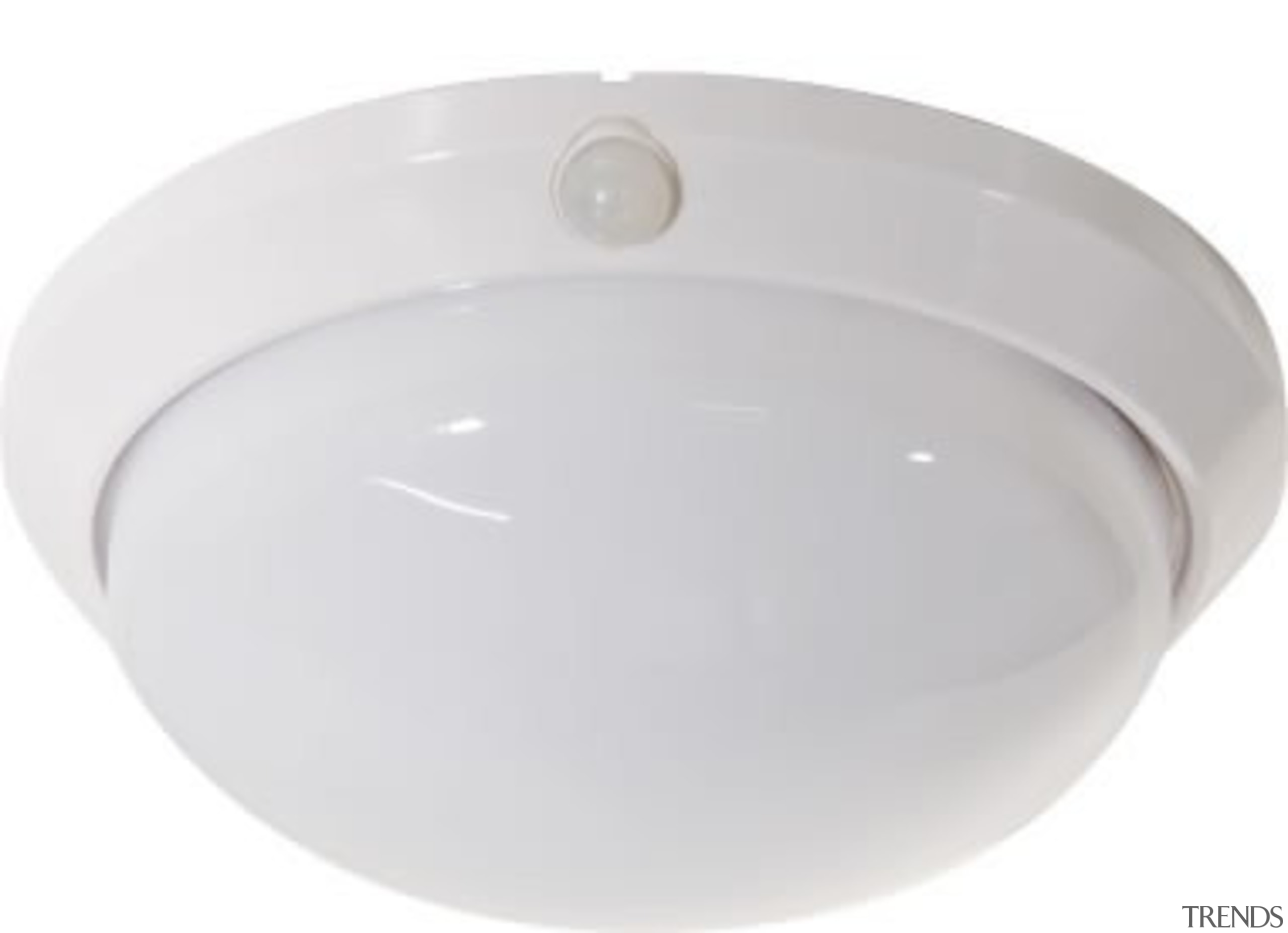 FeaturesA classic oyster style ceiling mount construction with lighting, product design, smoke detector, white