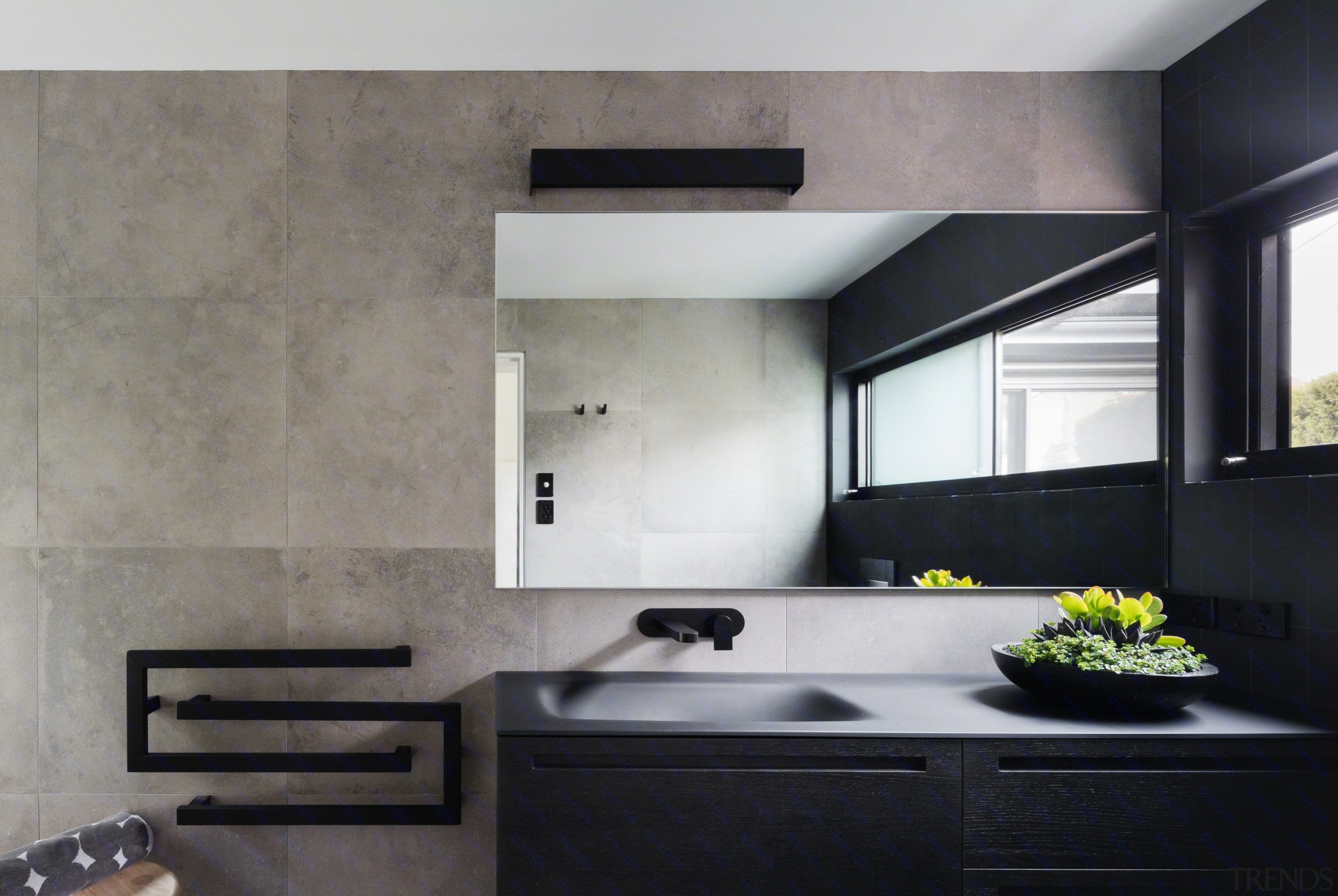 A Black Vanity And Black Accessories Avoid This architecture, countertop, interior design, kitchen, sink, wall, gray, black