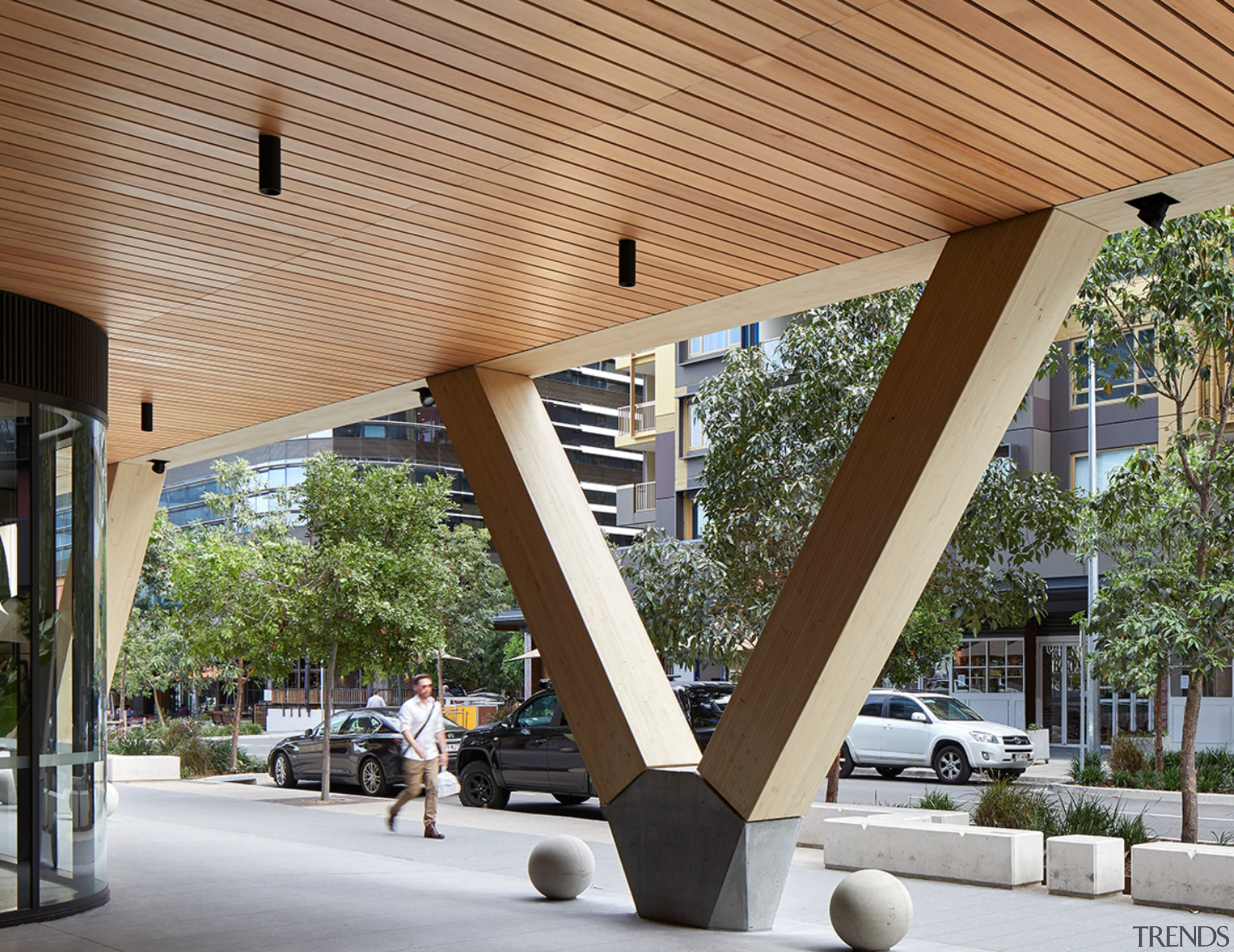 Raised on massive exposed timber v-columns and with architecture, structure, gray, brown