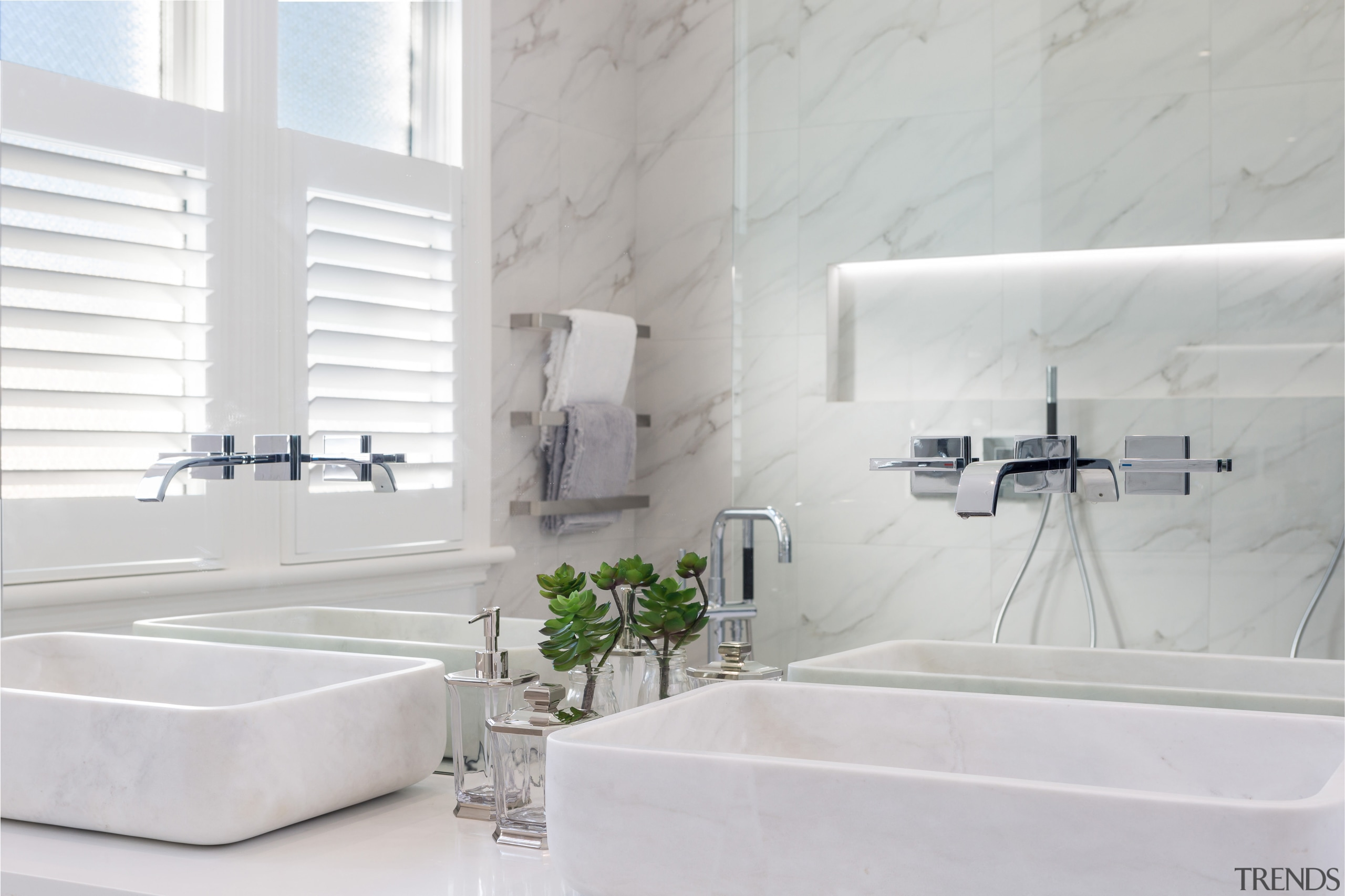 Hand-made marble vanity basins are a feature of bathroom, bathroom sink, floor, interior design, plumbing fixture, product design, property, room, sink, tap, tile, wall, white, gray
