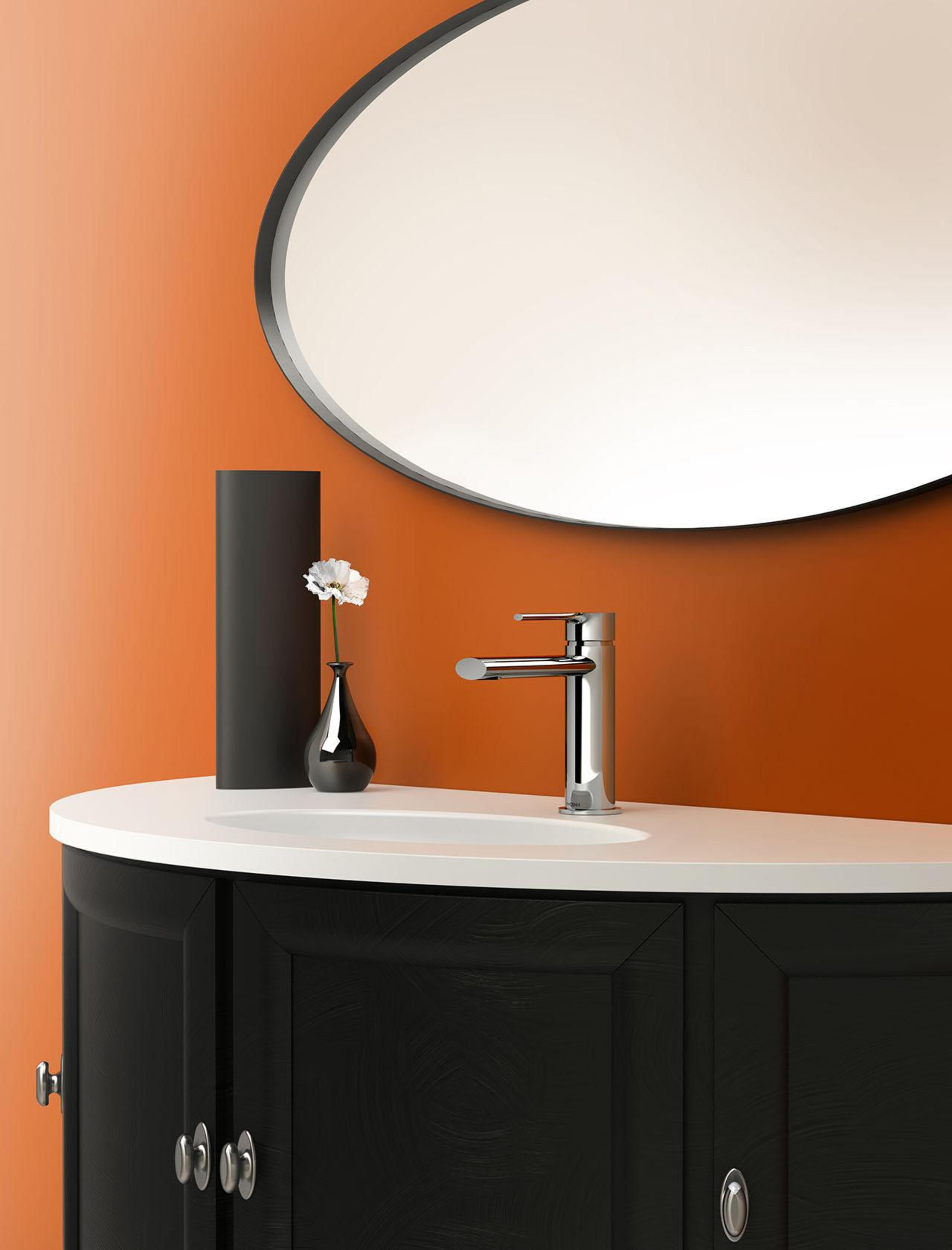 vivid slimline - Our Product - angle   angle, bathroom, bathroom accessory, bathroom cabinet, bathroom sink, furniture, interior design, orange, plumbing fixture, product, product design, sink, tap, white, black