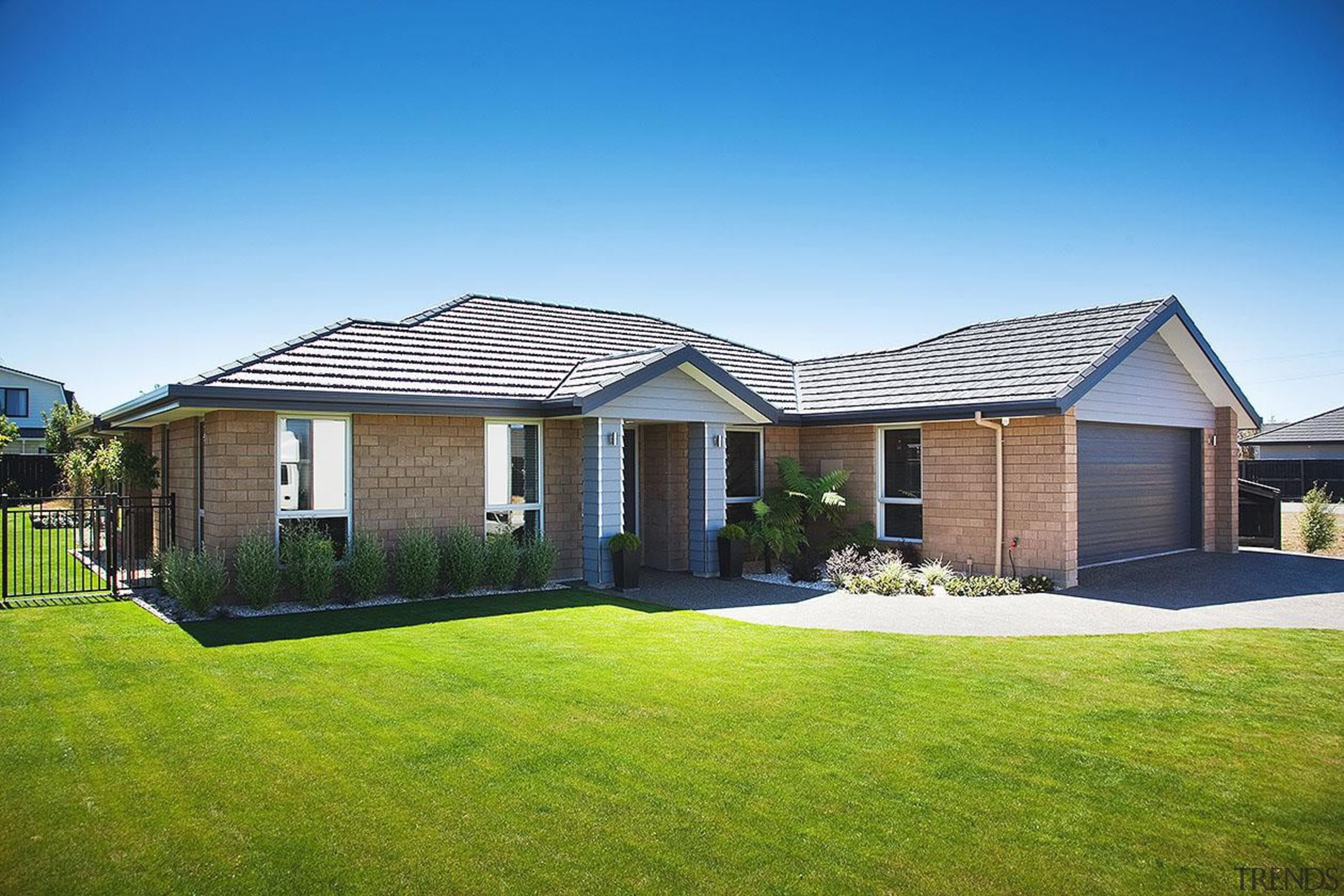 For more information, please visit www.gjgardner.co.nz cottage, elevation, estate, facade, farmhouse, grass, home, house, land lot, lawn, property, real estate, residential area, roof, siding, sky, suburb, window, yard