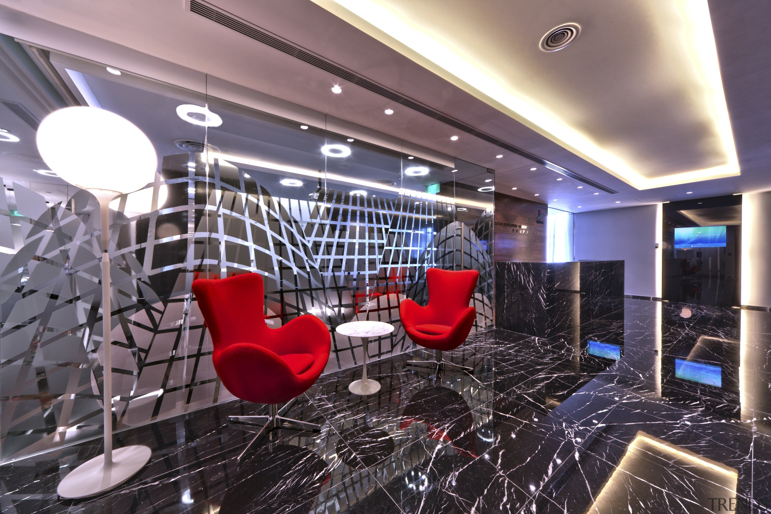 Contemporary offices of  the Real Estate Developer's ceiling, interior design, lobby, black