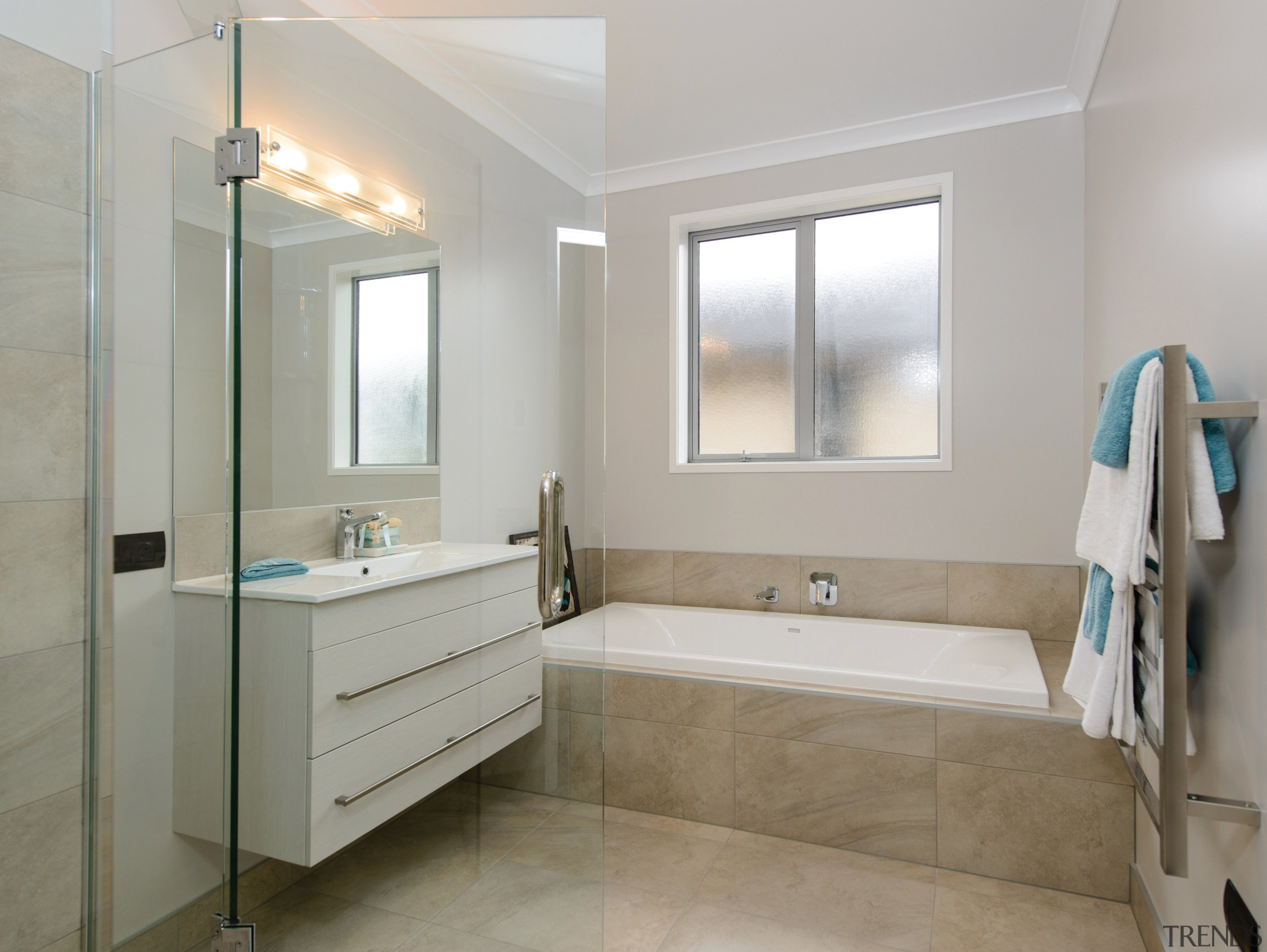 GJ Gardner Homes show home bathroom - GJ bathroom, bathroom accessory, bathroom cabinet, floor, home, interior design, real estate, room, sink, tile, gray