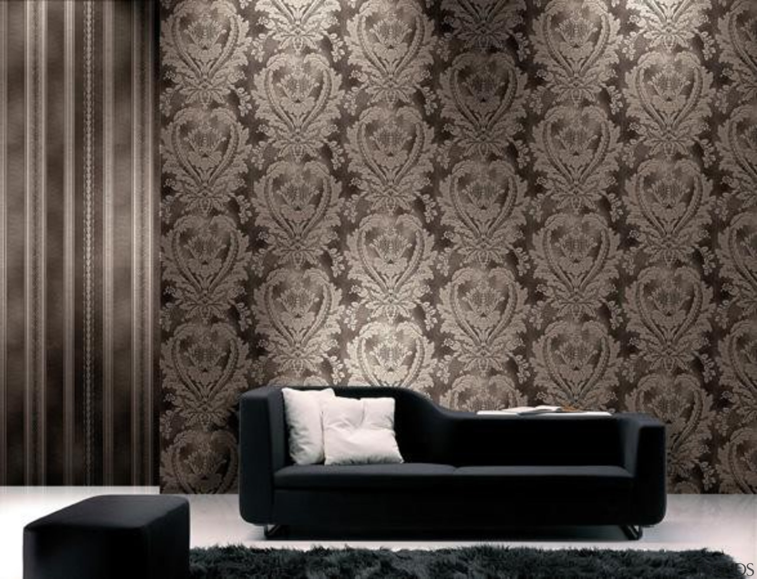 Modern Style Range - black and white | black and white, couch, interior design, living room, pattern, wall, wallpaper, gray, black