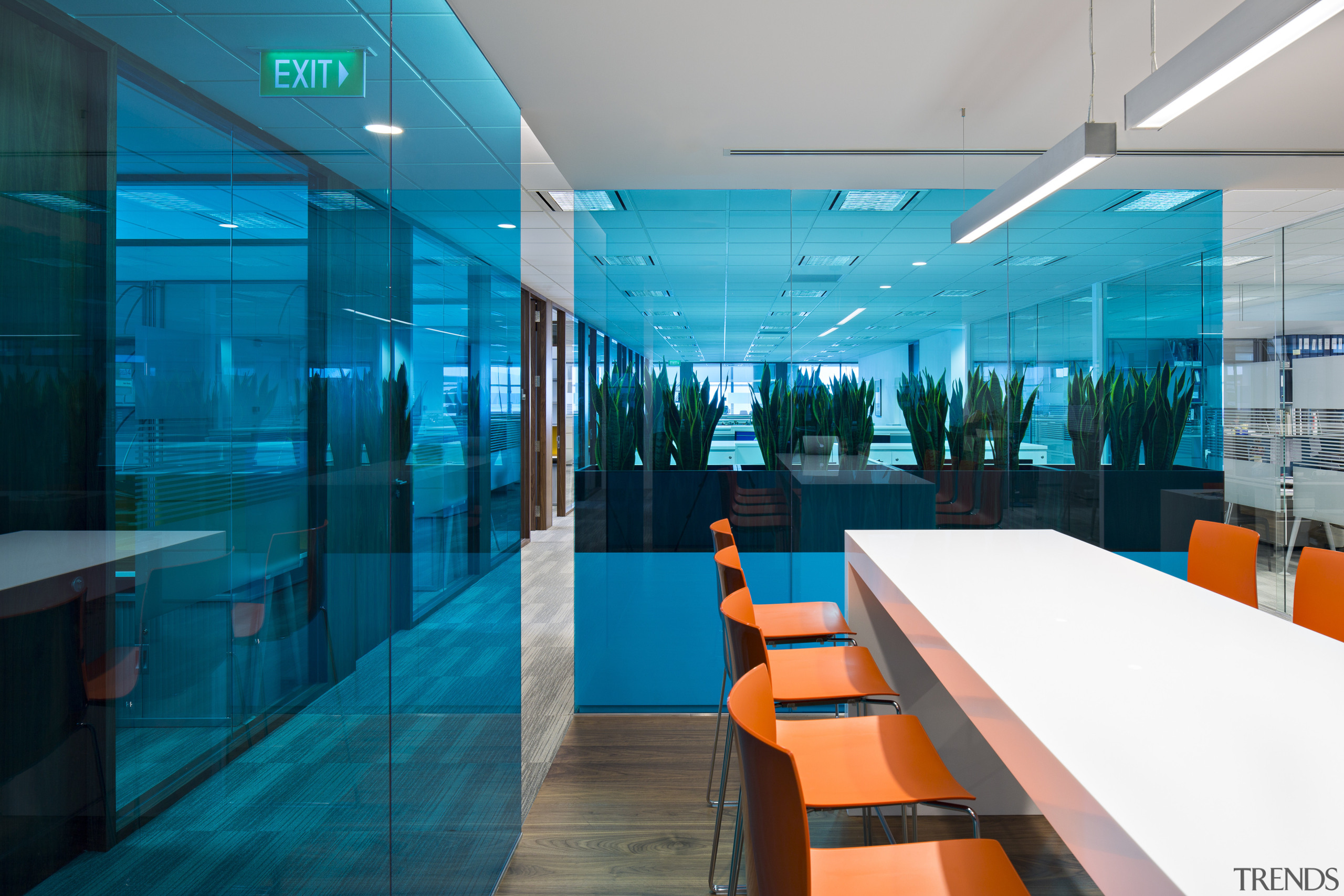 As part of the Clifford Chance law offices, architecture, blue, glass, interior design, office, teal