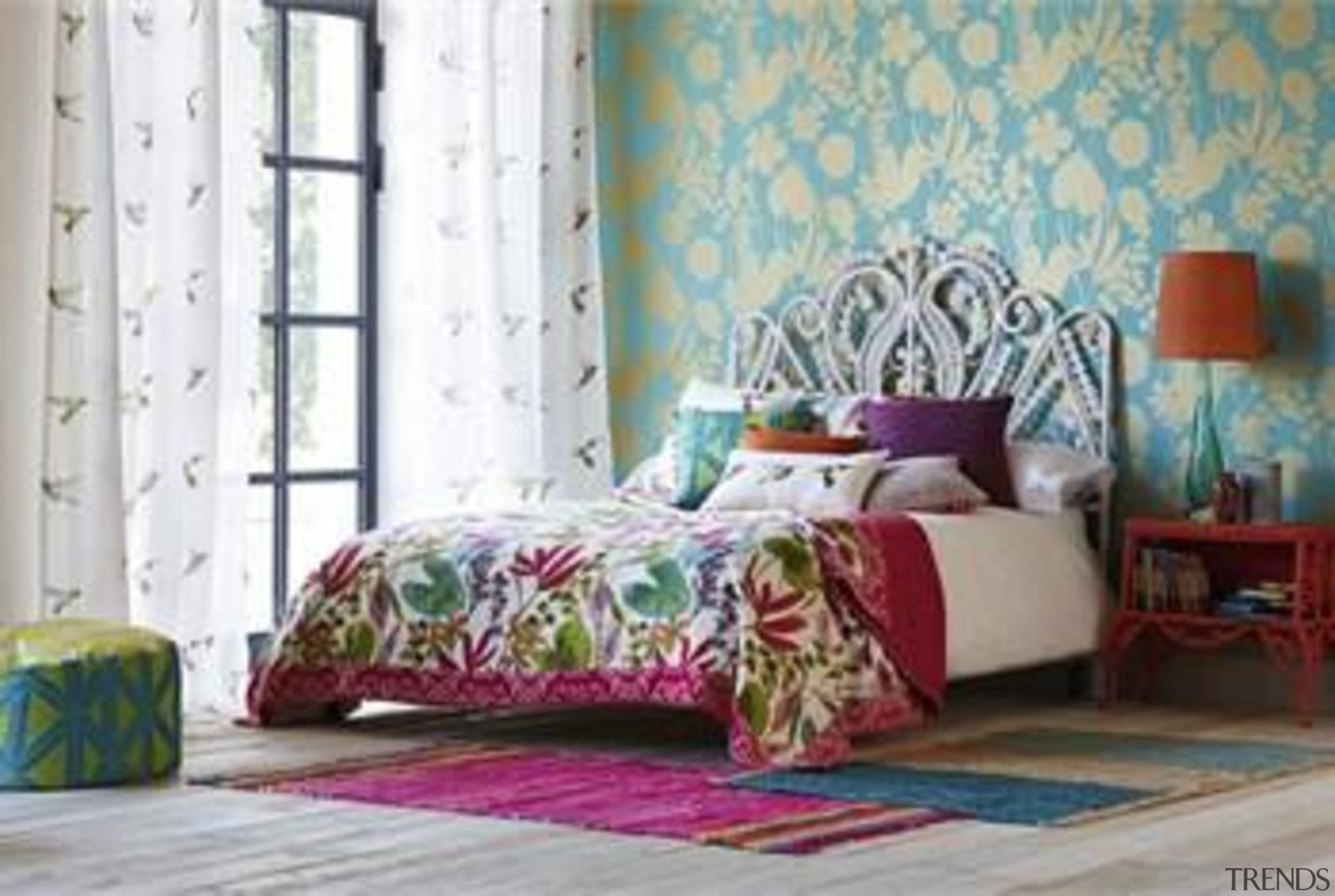 These stunning new Fabrics by Harlequin are available bed, bed frame, bed sheet, bedding, bedroom, couch, curtain, duvet cover, furniture, home, interior design, linens, living room, mattress, room, textile, wall, wallpaper, window, window covering, window treatment, gray, white