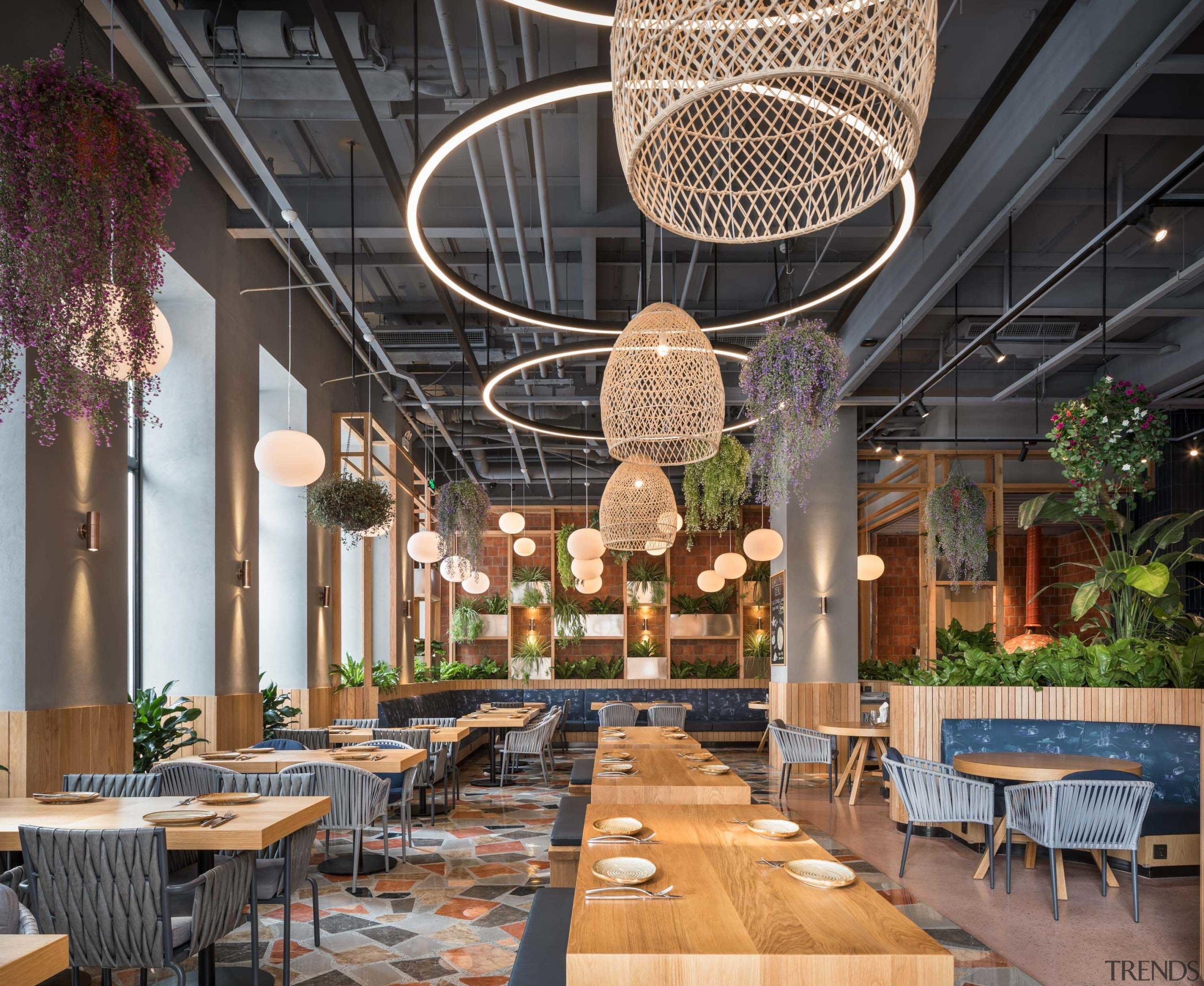 The sun-drenched indoor pizza garden is just one architecture, brunch, building, ceiling, chandelier, design, furniture, interior design, lighting, lobby, restaurant, table, black