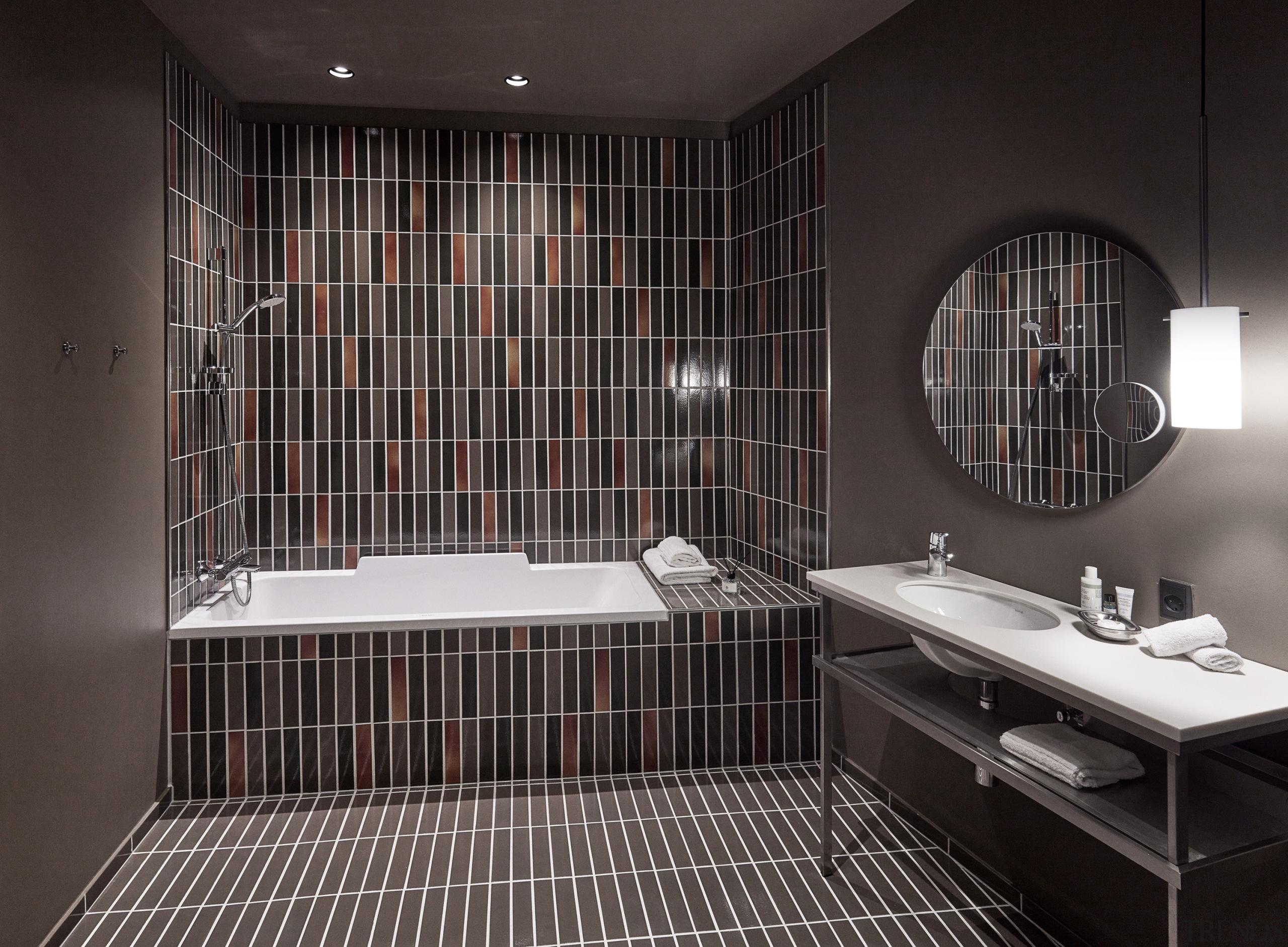 Ceramic tiles from Agrob Buchtal's Craft series adorn architecture, bathroom, black, ceiling, ceramic, floor, flooring, interior design, plumbing fixture, property, room, sink, tap, tile, black