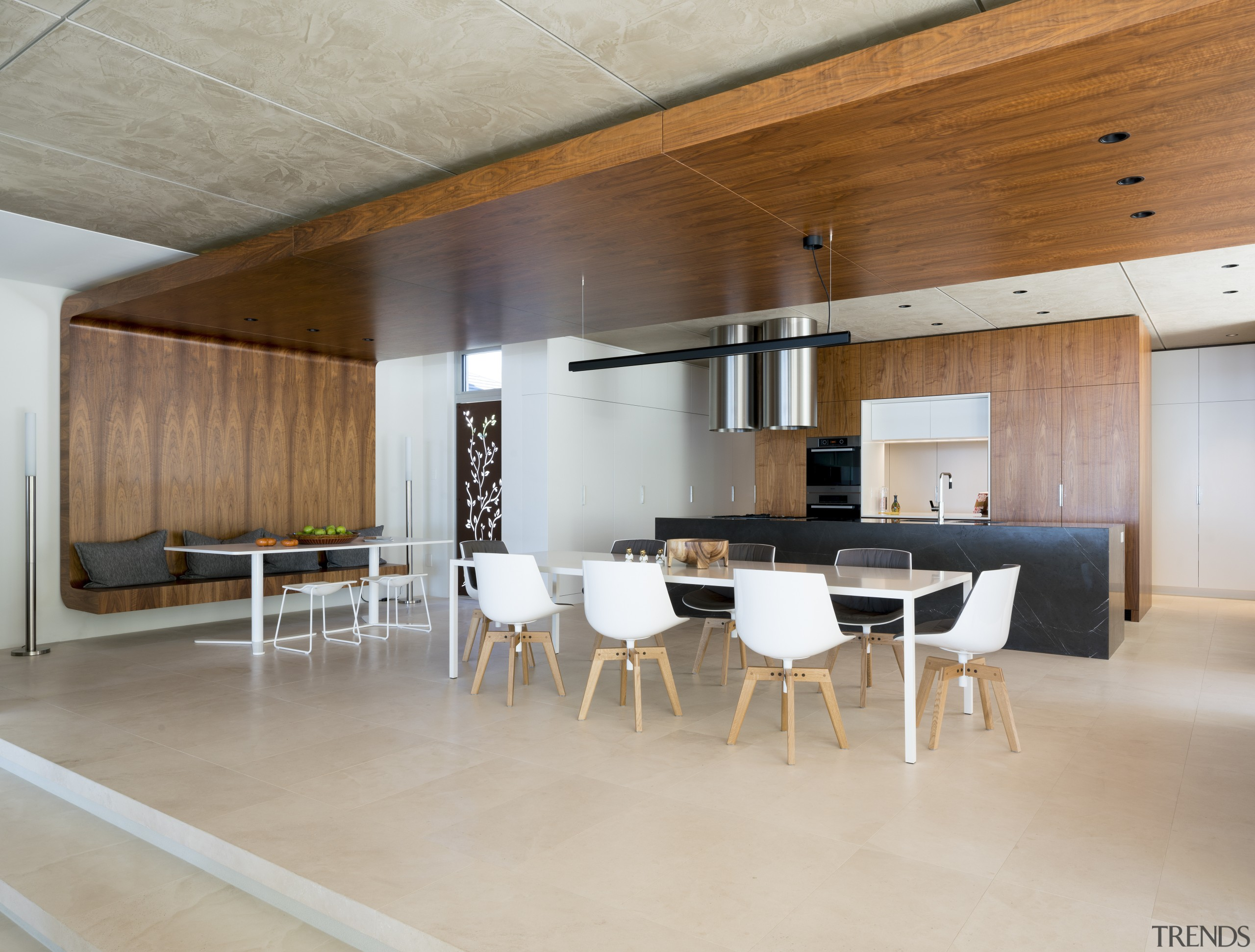 A large timber wrap-around adds to the emphasis architecture, ceiling, floor, flooring, furniture, house, interior design, real estate, table, gray