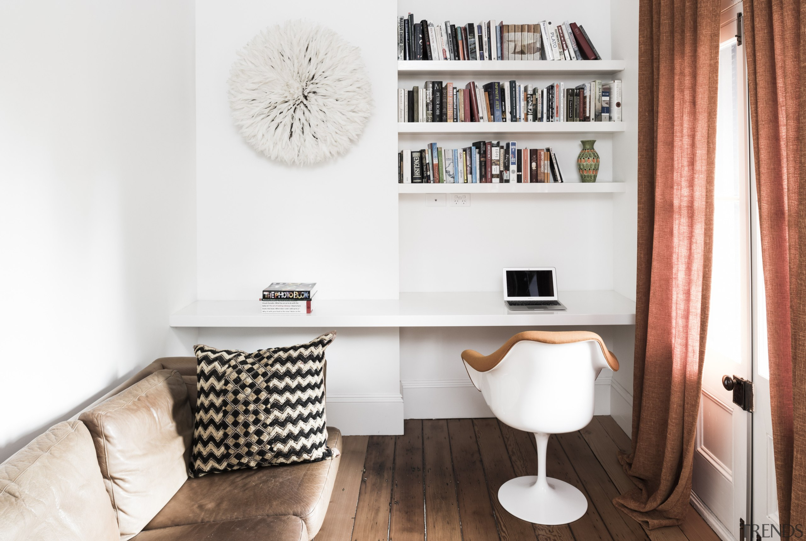 For this terrace house renovation, an awkward, oversized chair, desk, furniture, home, interior design, living room, product design, room, shelf, shelving, table, white
